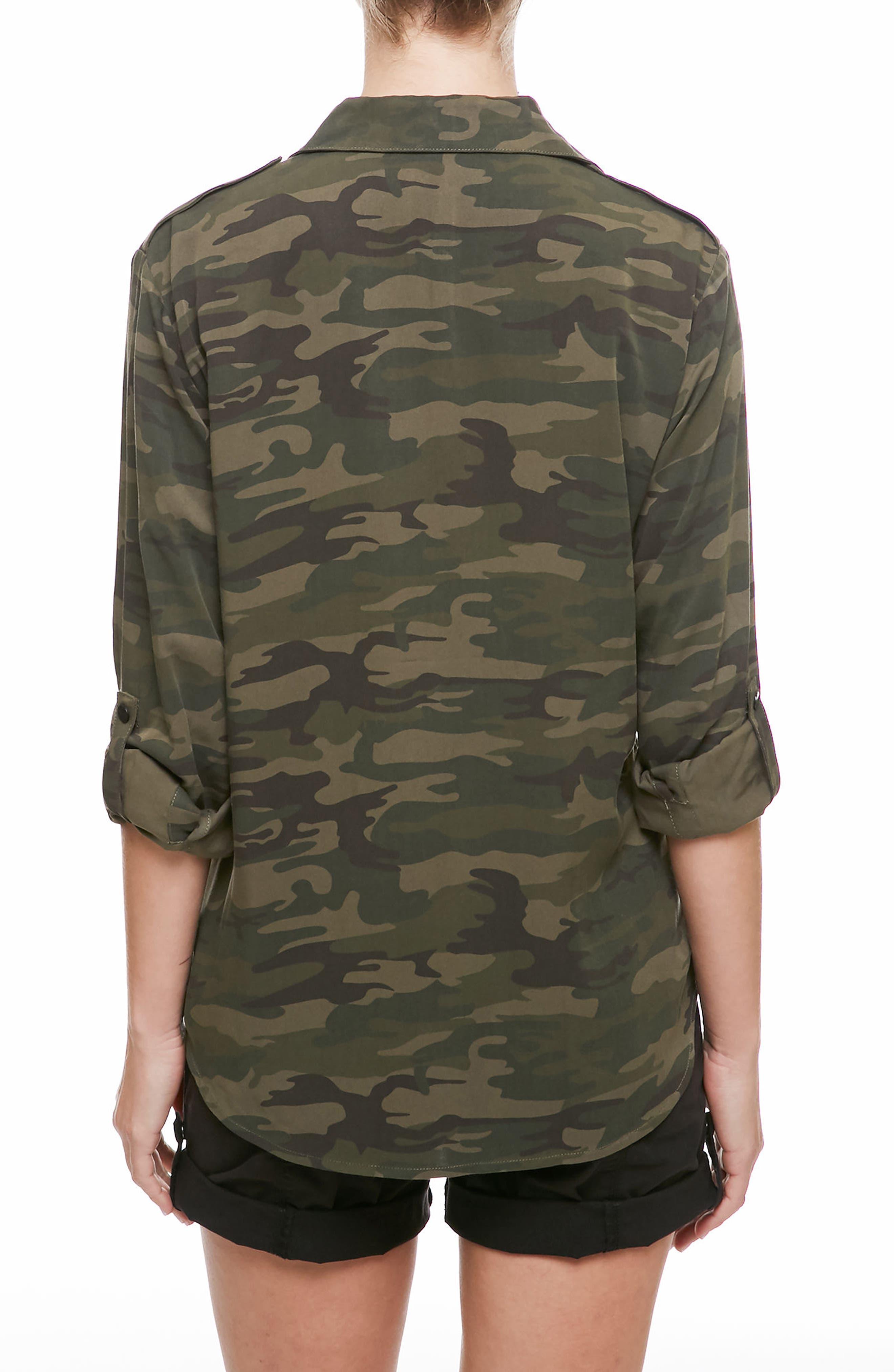 Camo Print Boyfriend Shirt,                             Alternate thumbnail 2, color,                             CAMP CAMO