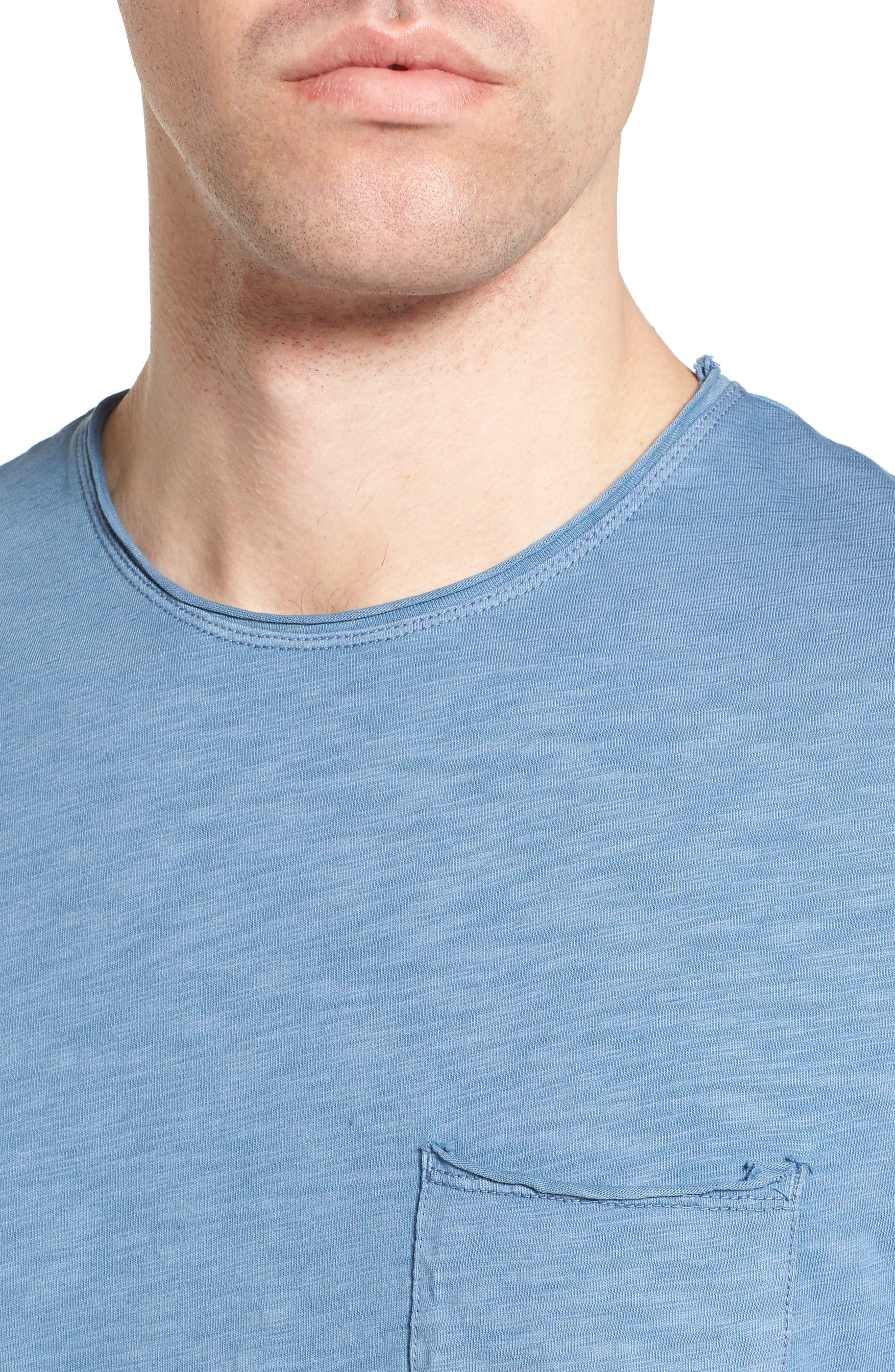Raw Edge Slub T-Shirt,                             Alternate thumbnail 7, color,                             VINTAGE BLUE