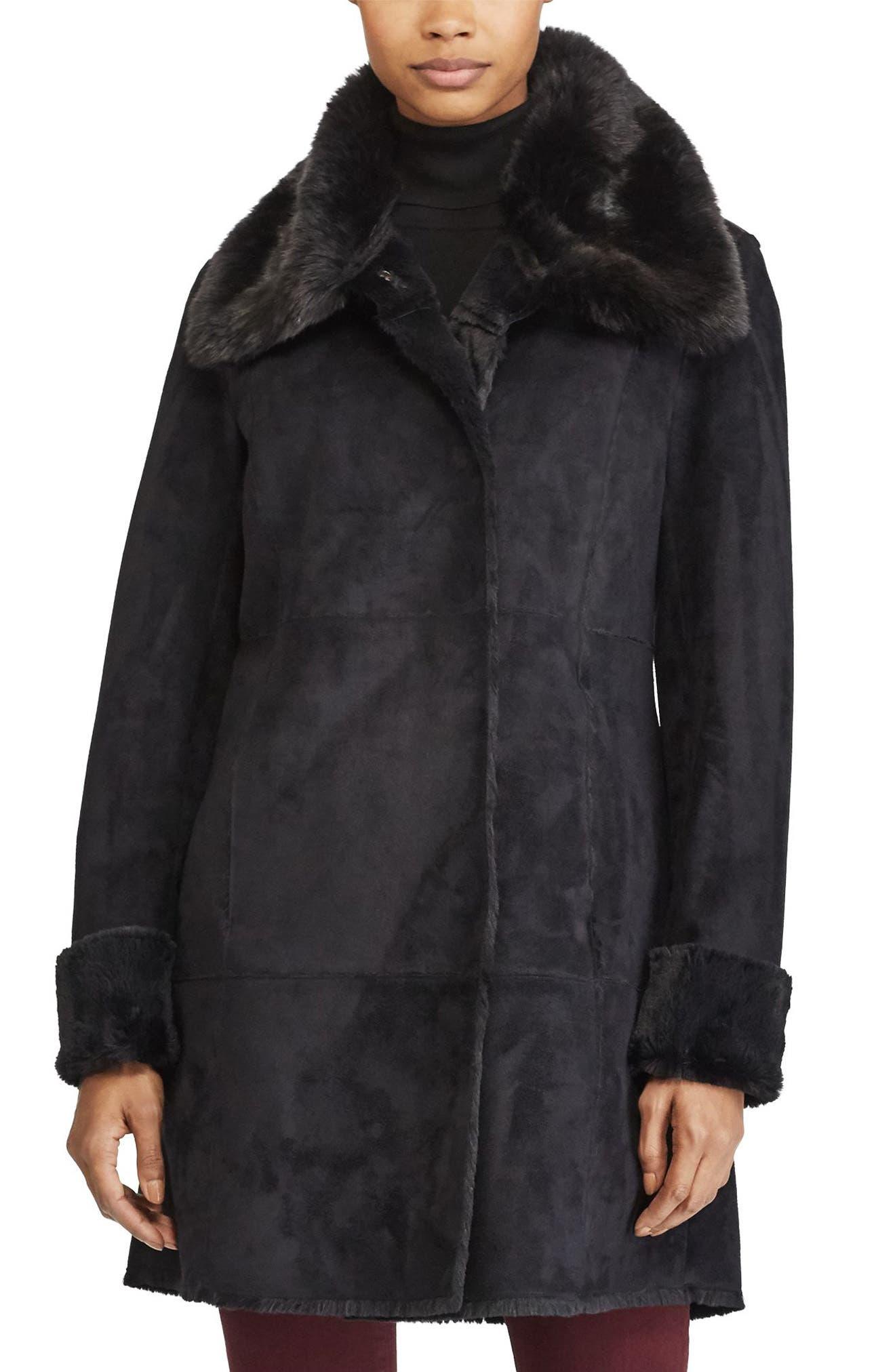 LAUREN RALPH LAUREN Faux Shearling Jacket, Main, color, 001