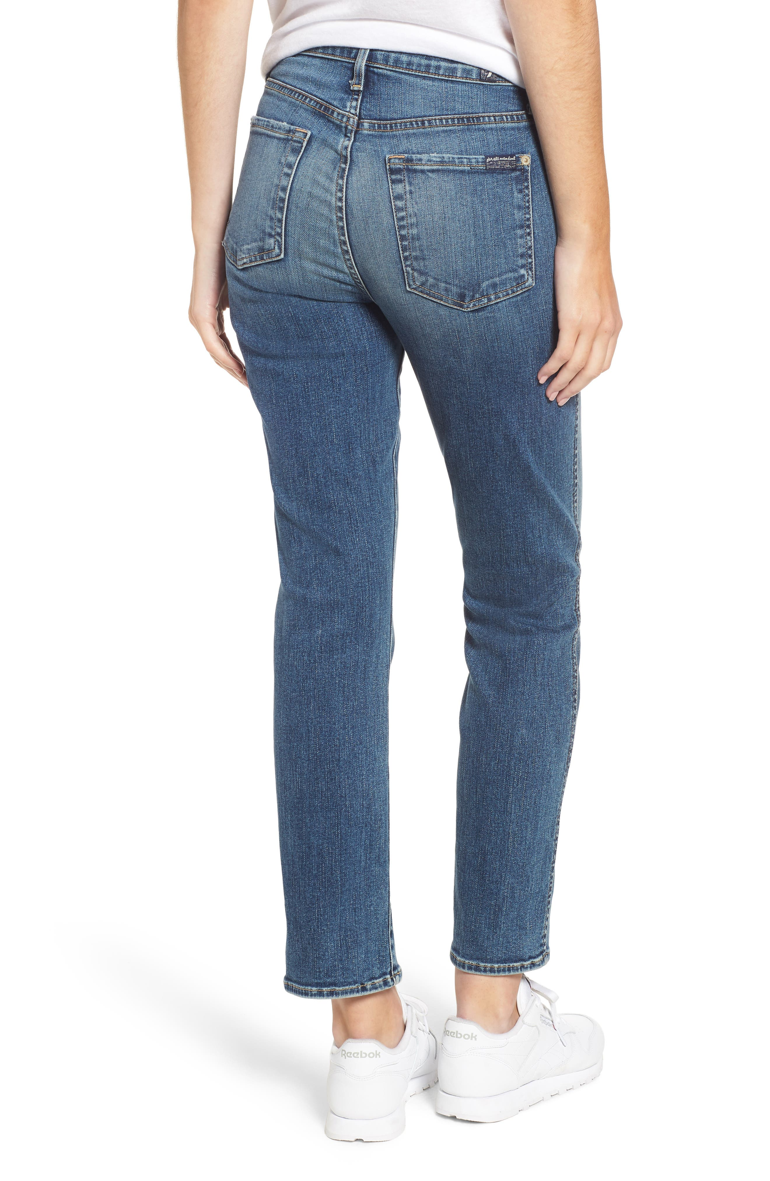 7 FOR ALL MANKIND<SUP>®</SUP>,                             Edie High Waist Ankle Straight Leg Jeans,                             Alternate thumbnail 2, color,                             AUTHENTIC MEDIUM