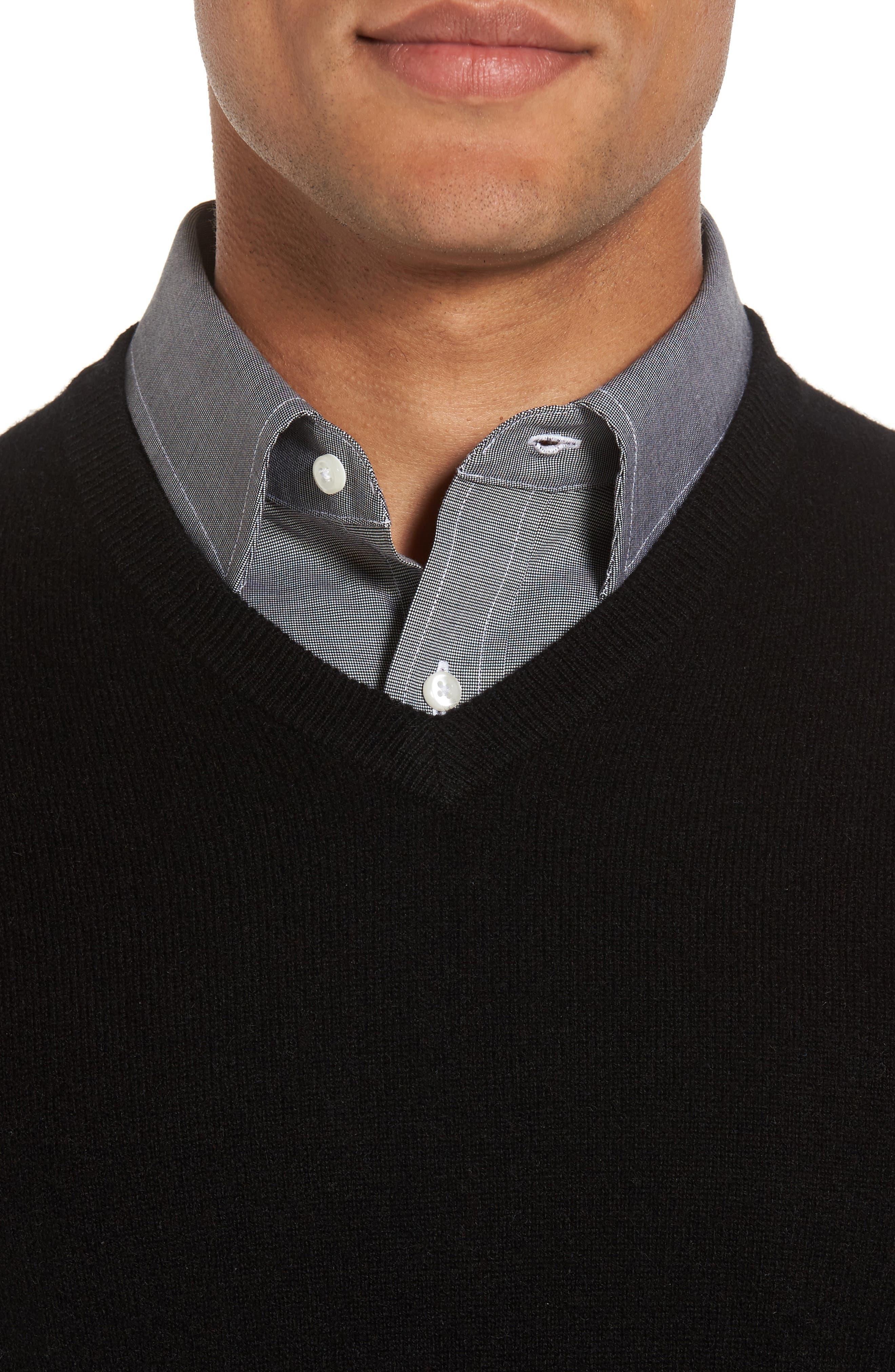 NORDSTROM MEN'S SHOP,                             Cashmere V-Neck Sweater,                             Alternate thumbnail 4, color,                             BLACK CAVIAR