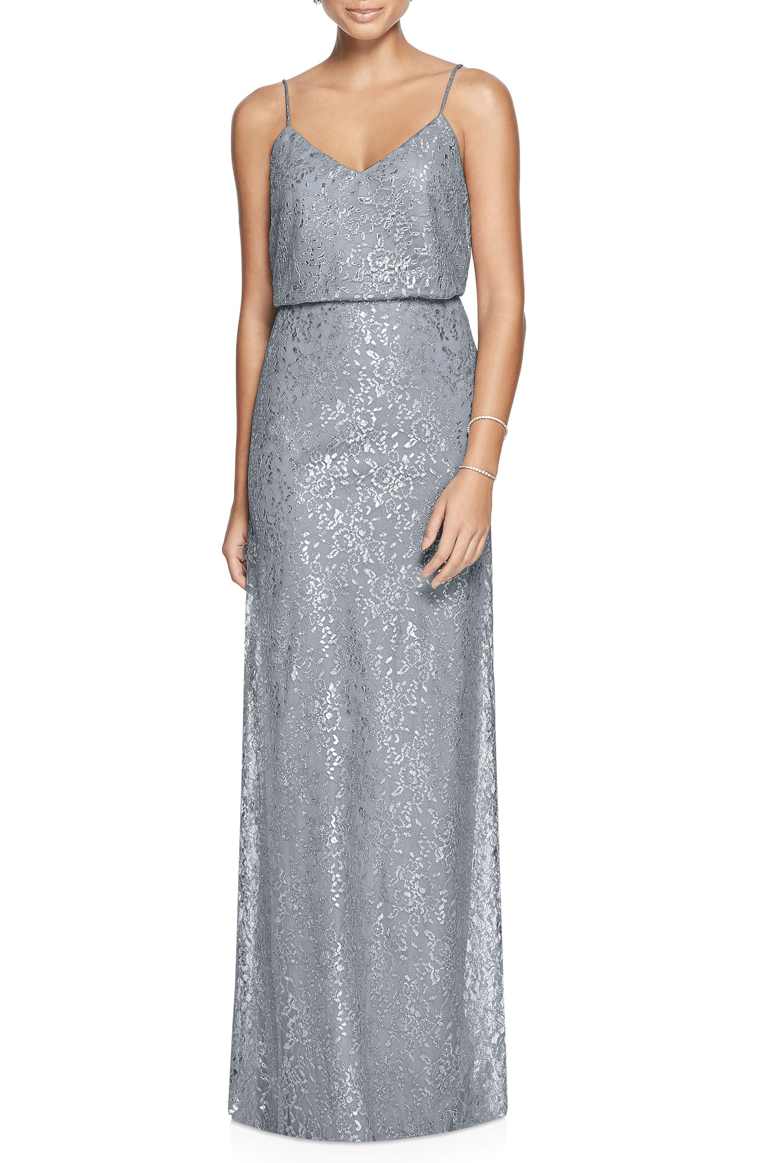 Metallic Lace Two-Piece Gown,                             Main thumbnail 1, color,                             PLATINUM