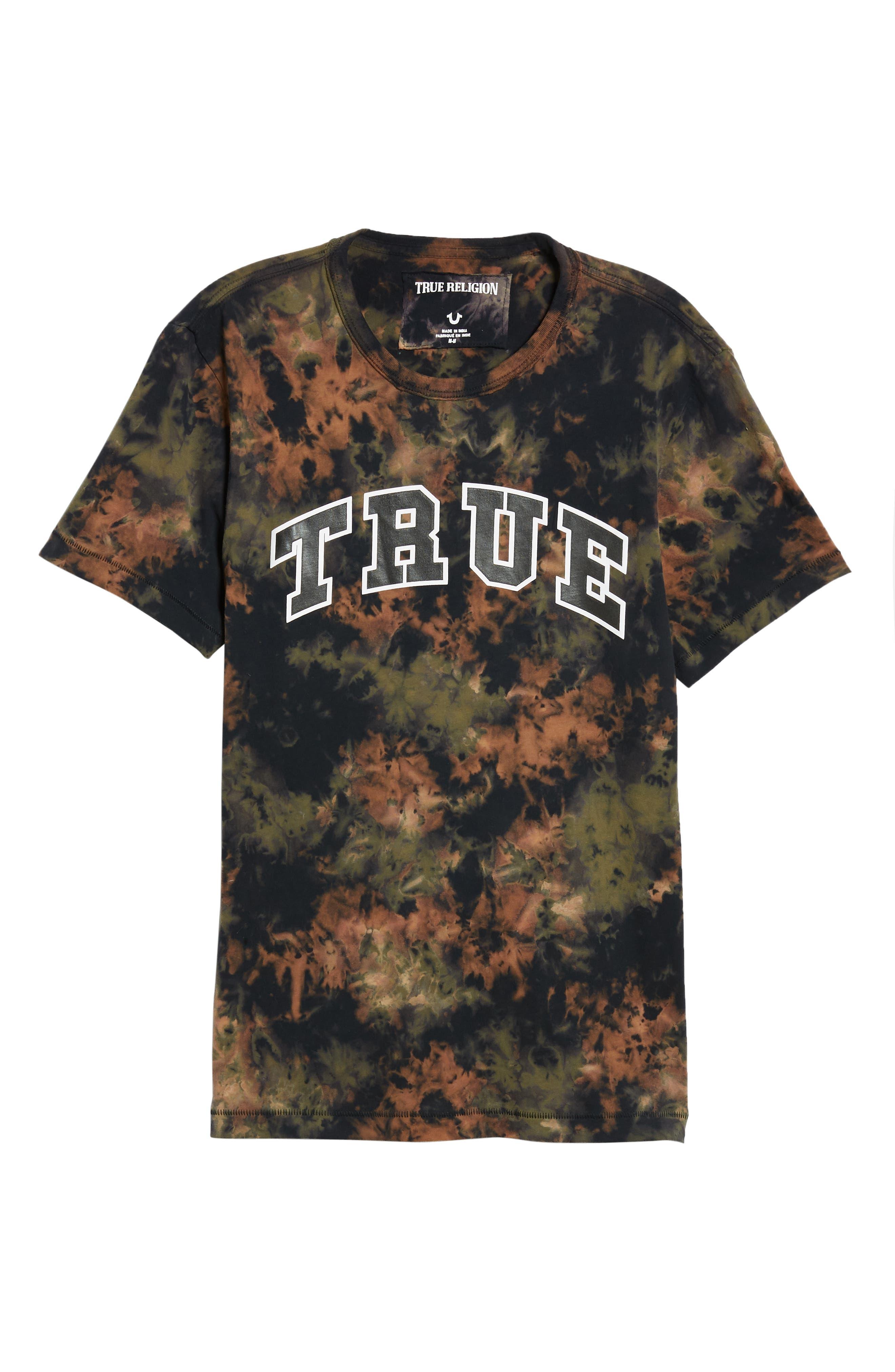 Crumple Dyed Logo T-Shirt,                             Alternate thumbnail 6, color,                             MILITANT GREEN TYE DYE
