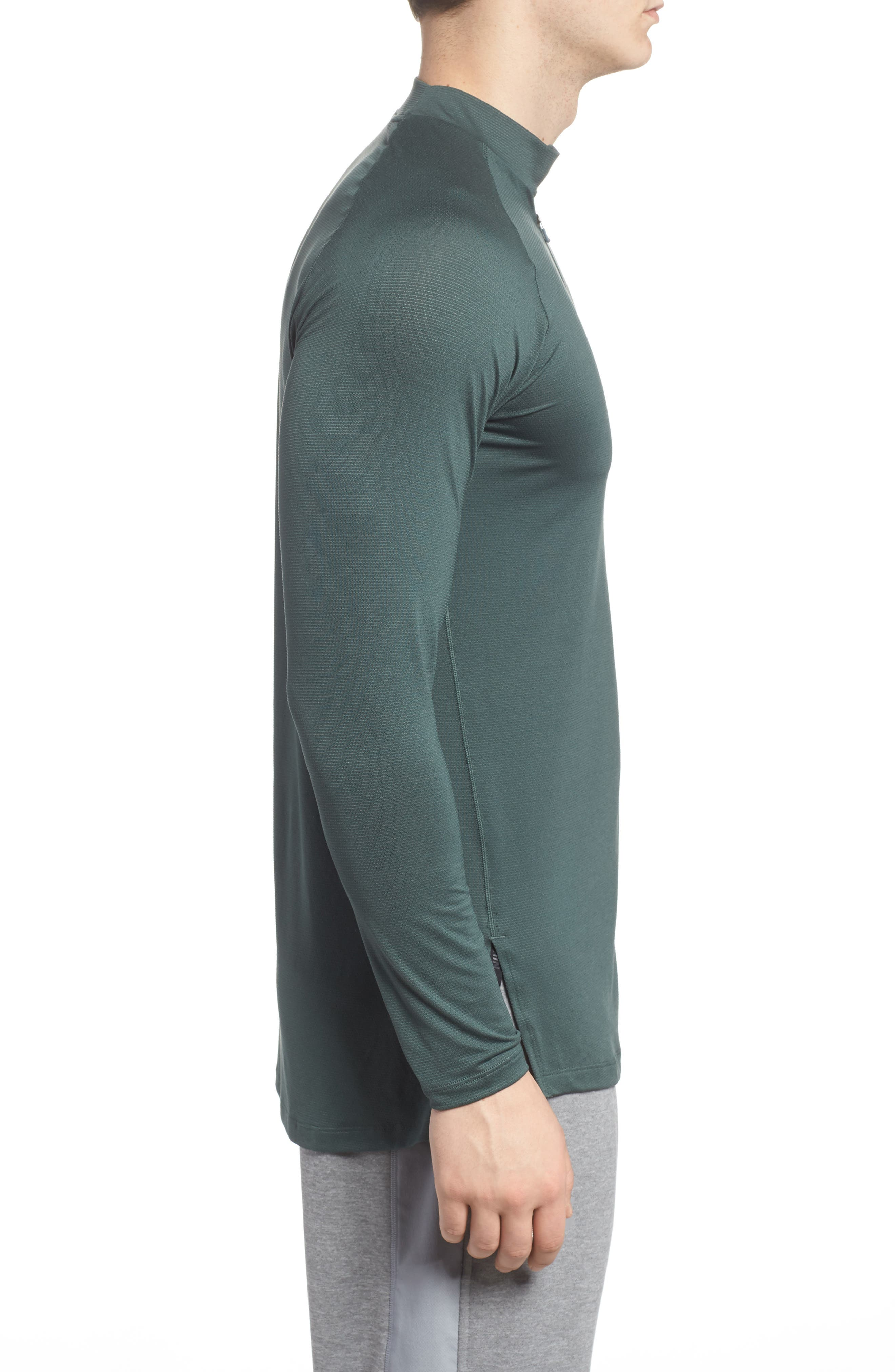 NIKE,                             Pro Fitted Utility Dry Tech Sport Top,                             Alternate thumbnail 3, color,                             VINTAGE GREEN/ BLACK
