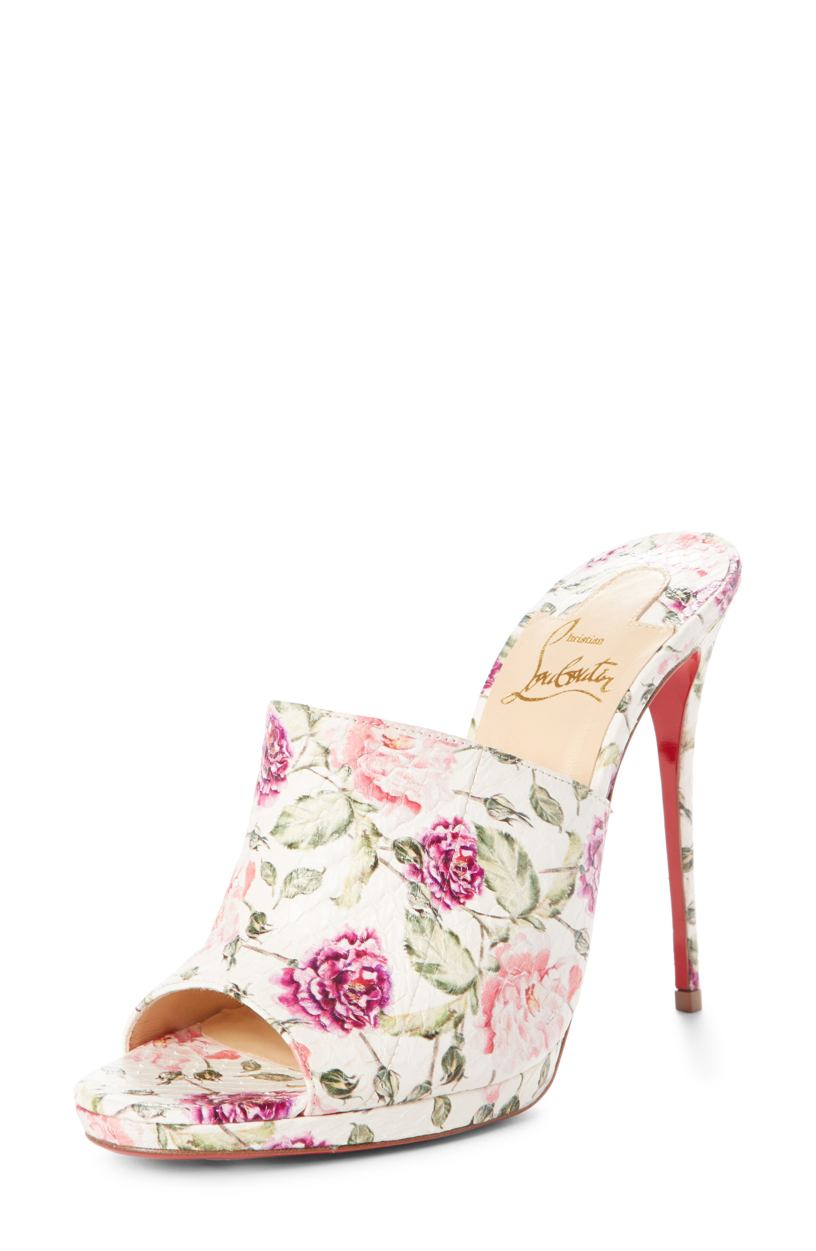 Floral Pigalle Genuine Snakeskin Mule,                             Main thumbnail 1, color,