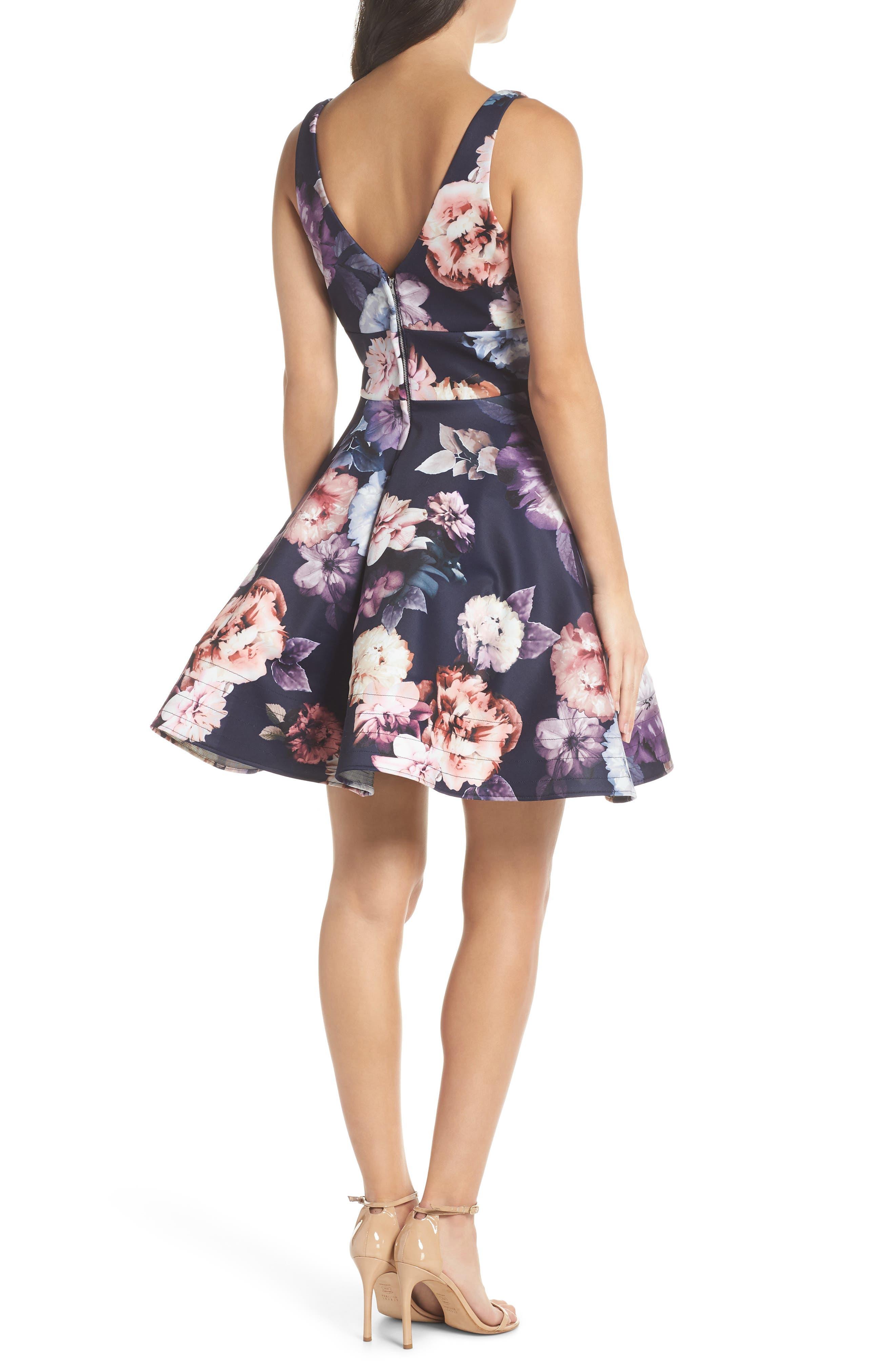 Floral Print Fit & Flare Dress,                             Alternate thumbnail 2, color,                             NAVY/ PURPLE