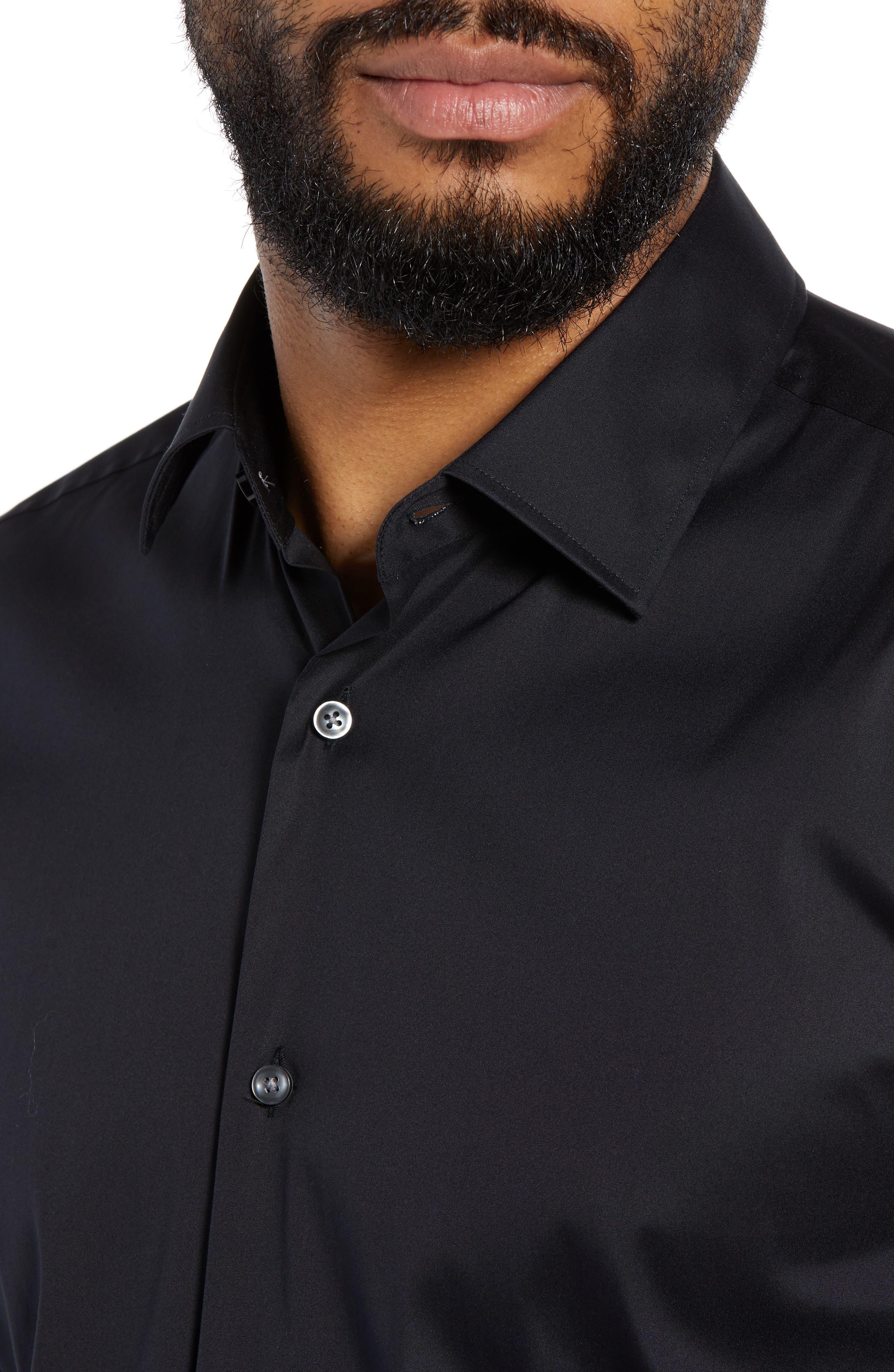 Jenno Slim Fit Stretch Solid Dress Shirt,                             Alternate thumbnail 2, color,                             BLACK