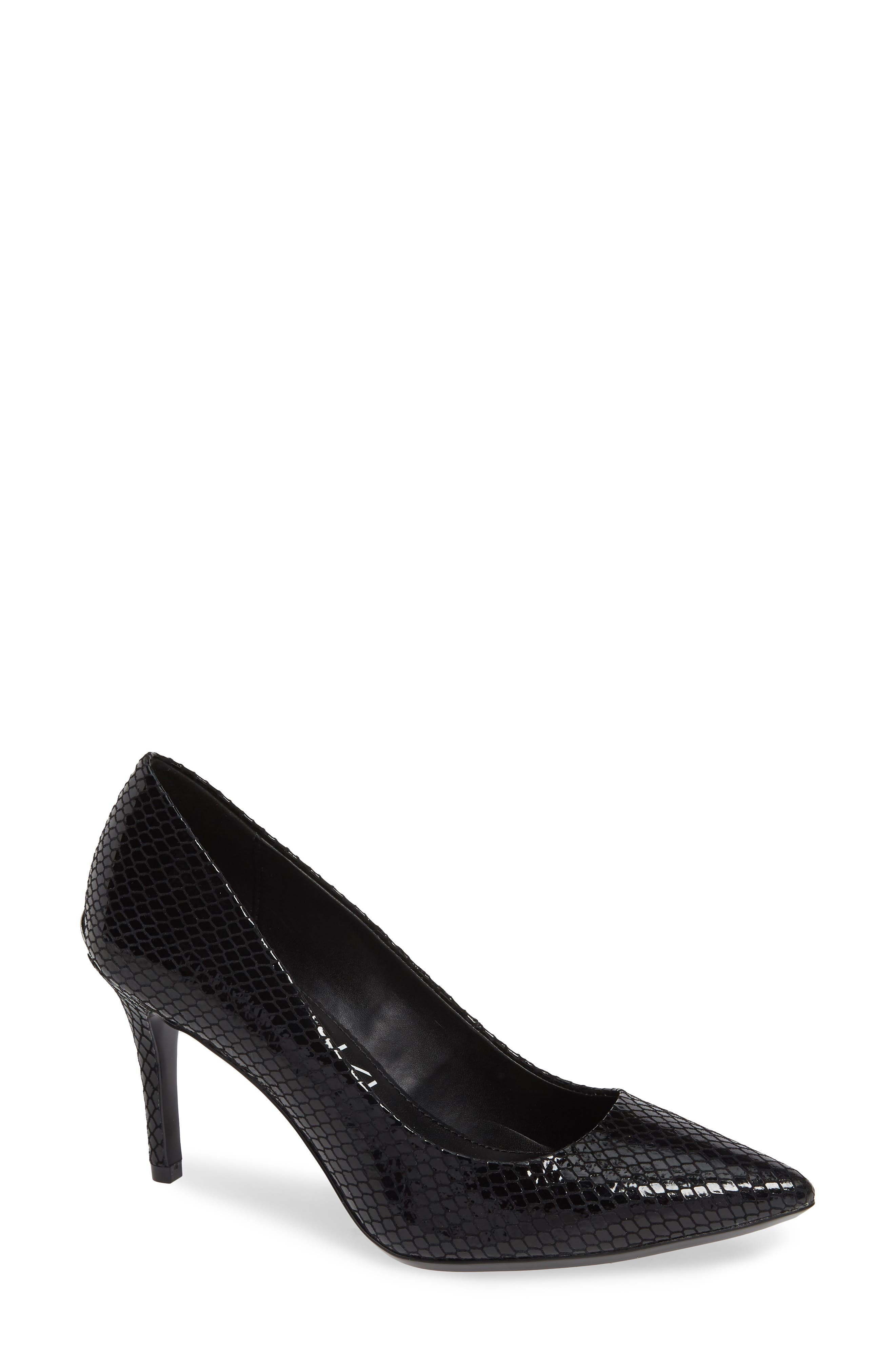 CALVIN KLEIN,                             'Gayle' Pointy Toe Pump,                             Main thumbnail 1, color,                             BLACK SNAKE PRINT LEATHER