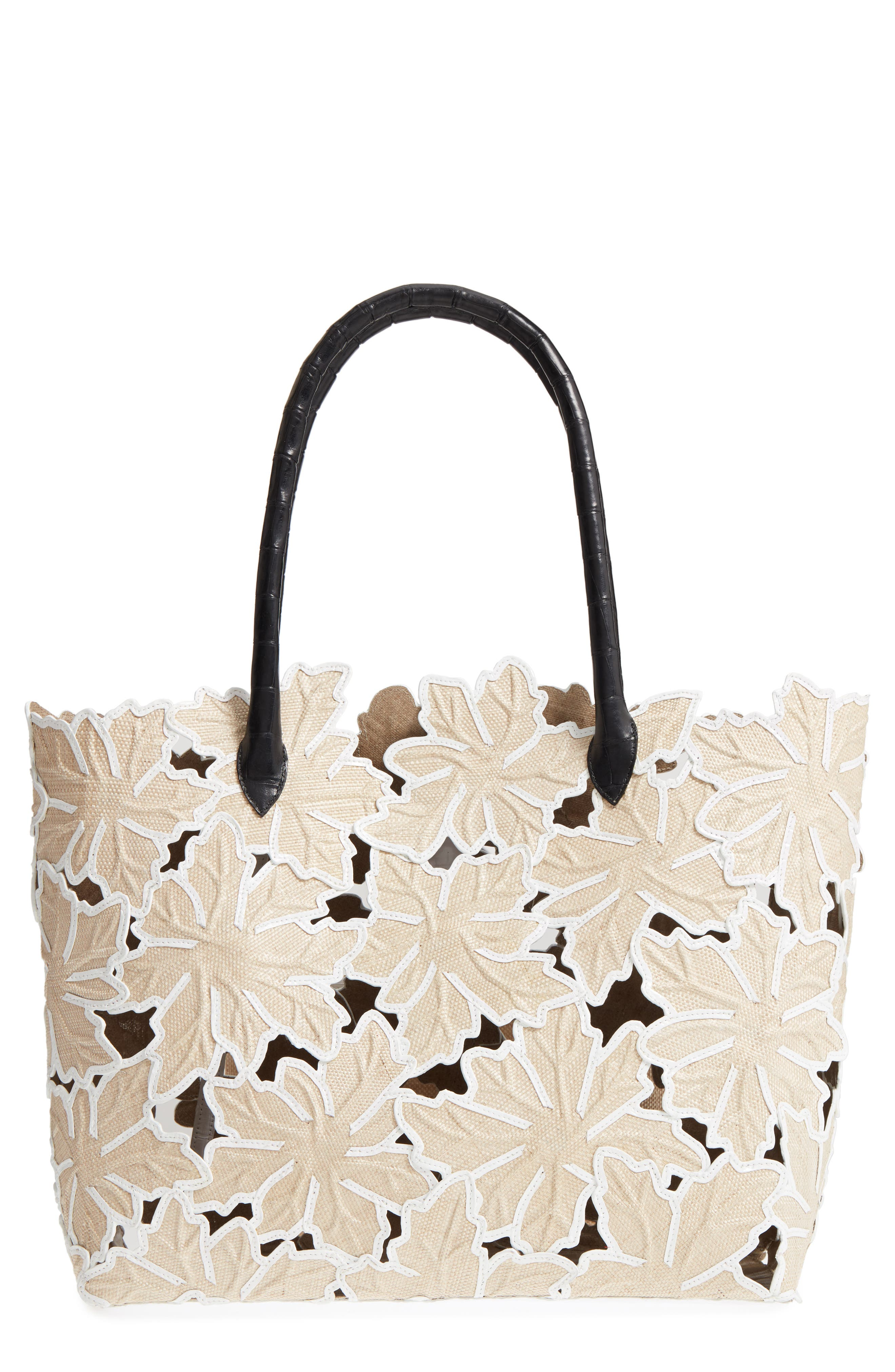Pieced Leaf Linen & Genuine Crocodile Tote,                             Main thumbnail 1, color,                             250