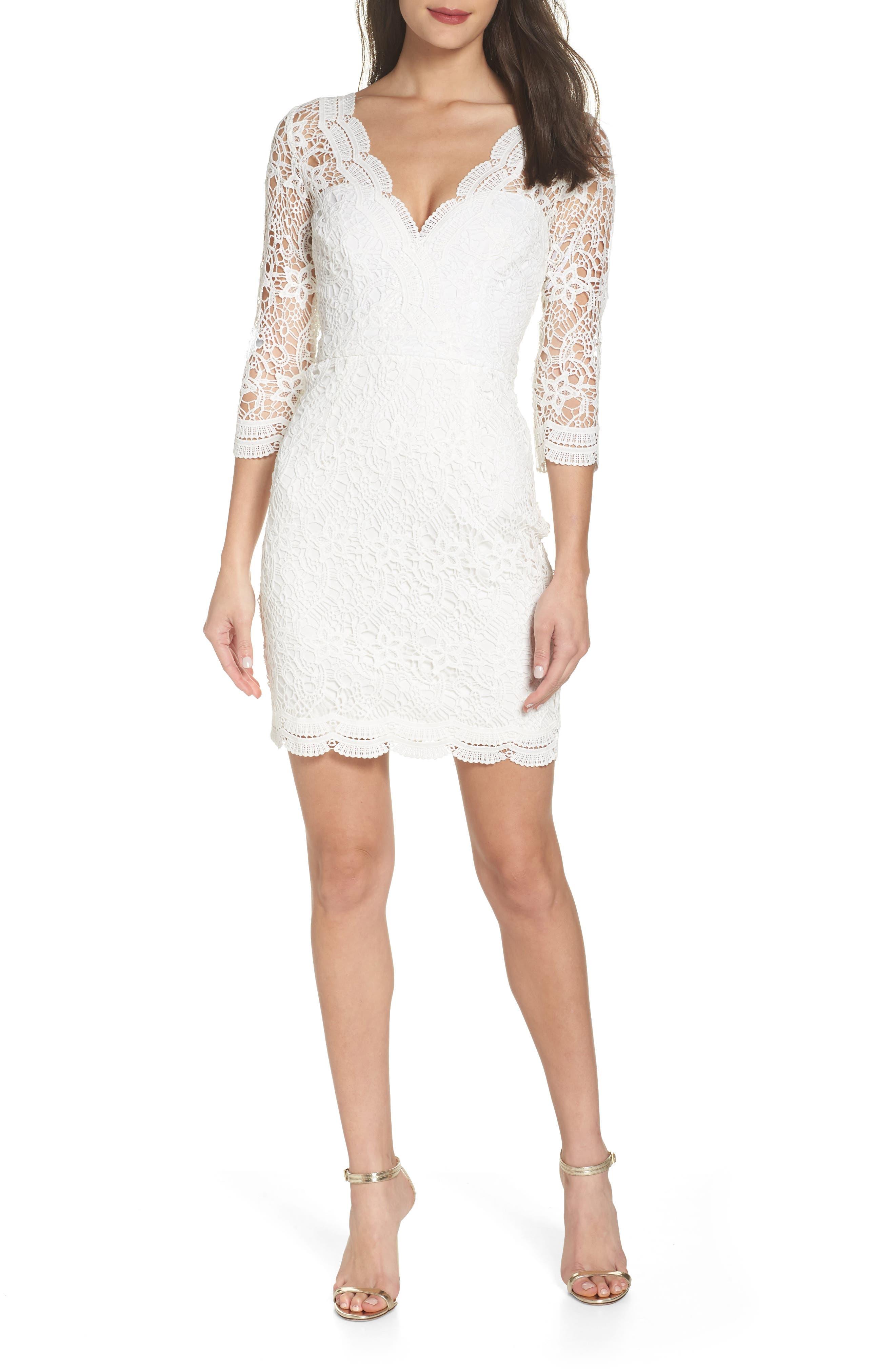 Lulus Lace Cocktail Dress, White