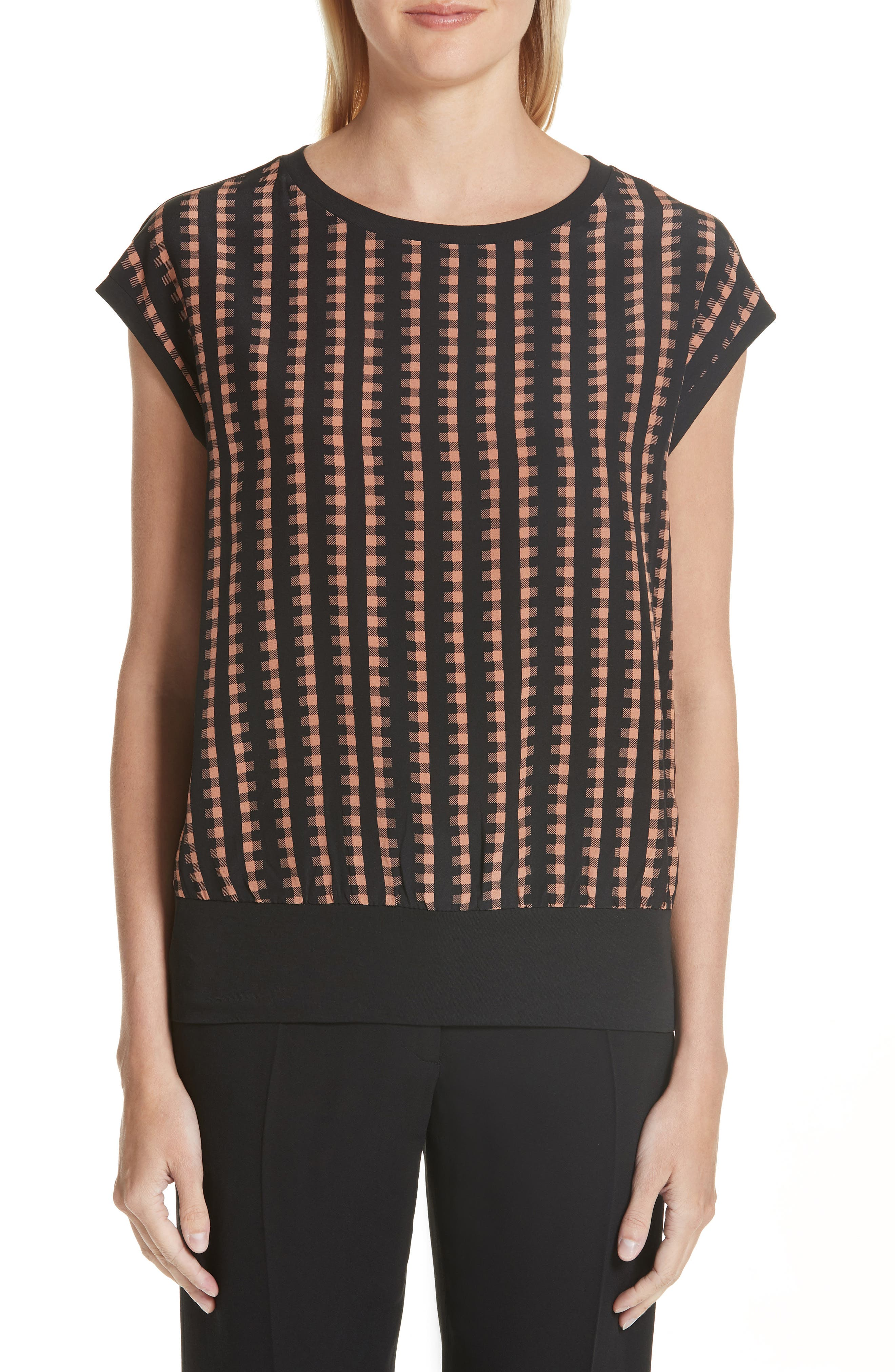 Gingham Print Silk Front Top,                         Main,                         color,