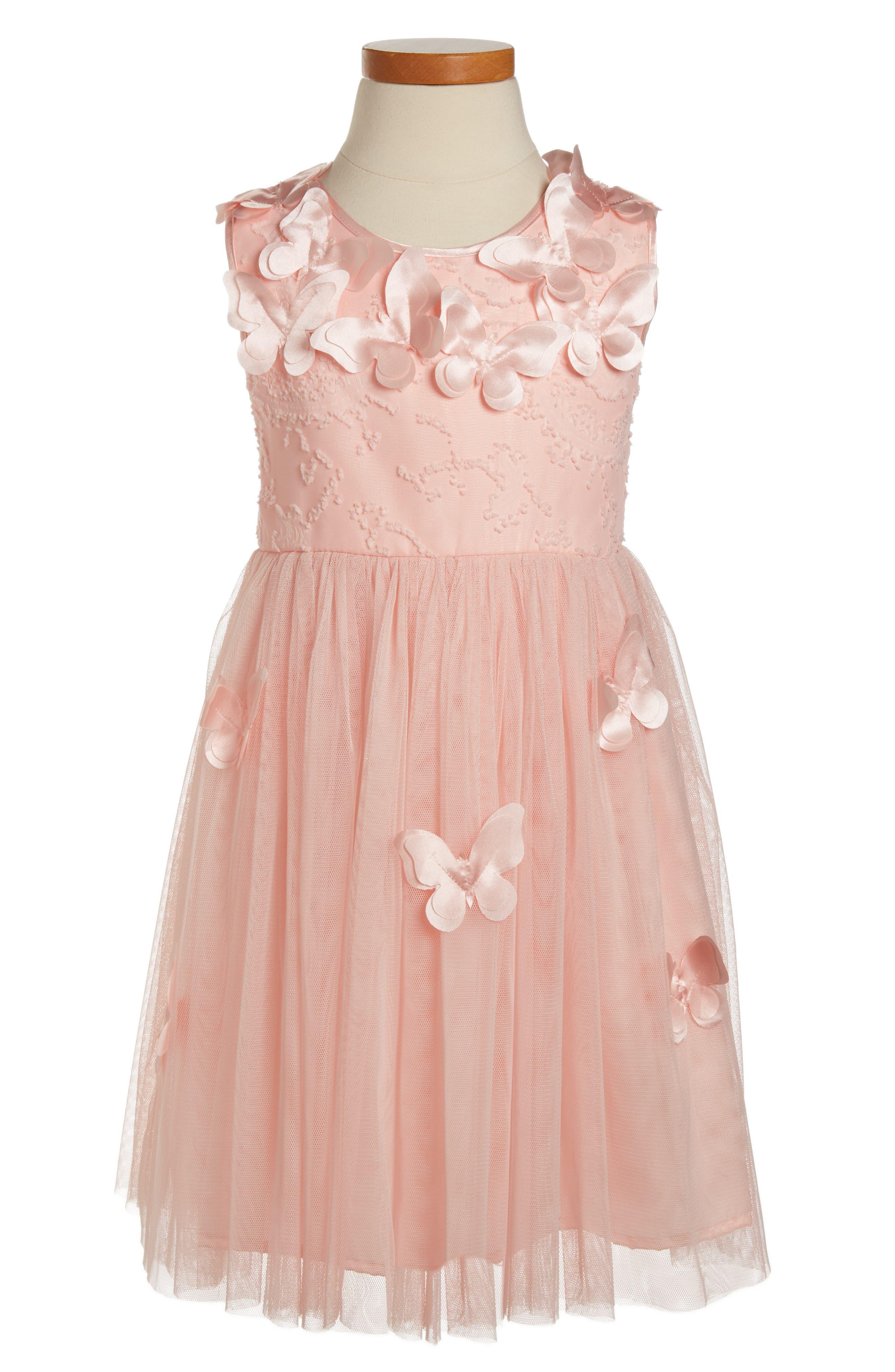Butterfly Dress,                         Main,                         color, PEACH