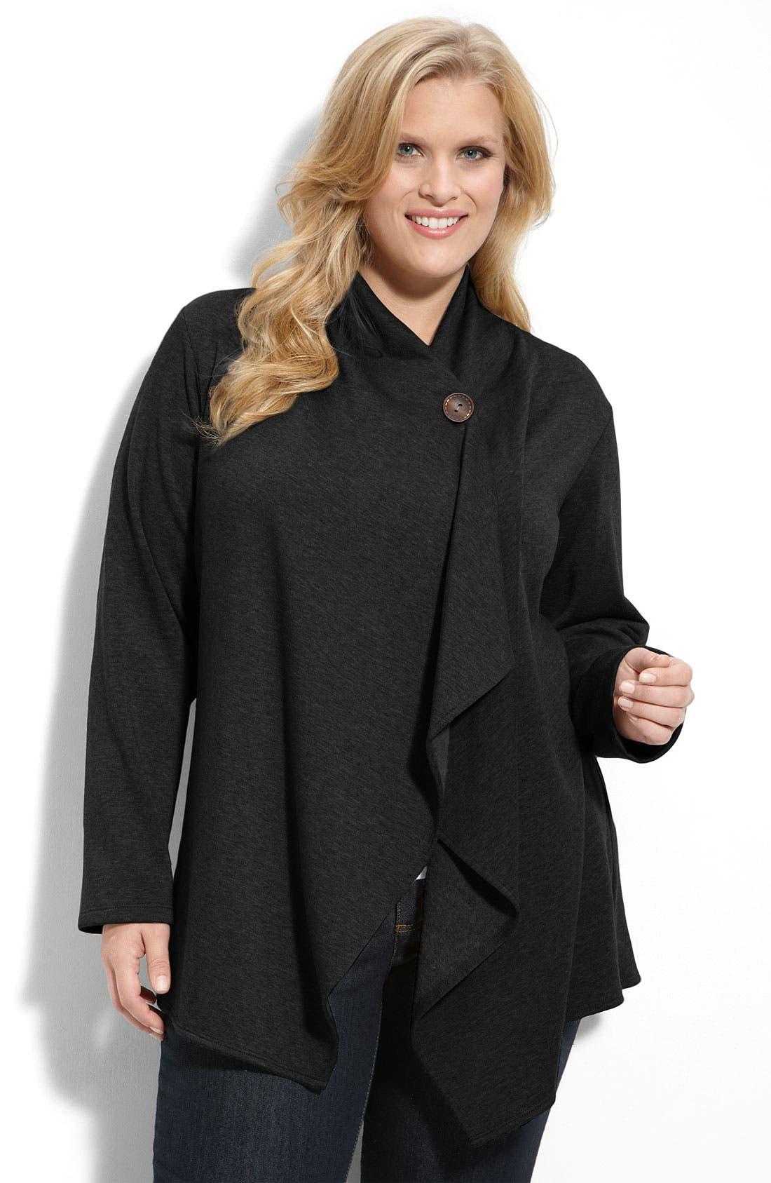 One-Button Fleece Cardigan,                         Main,                         color,