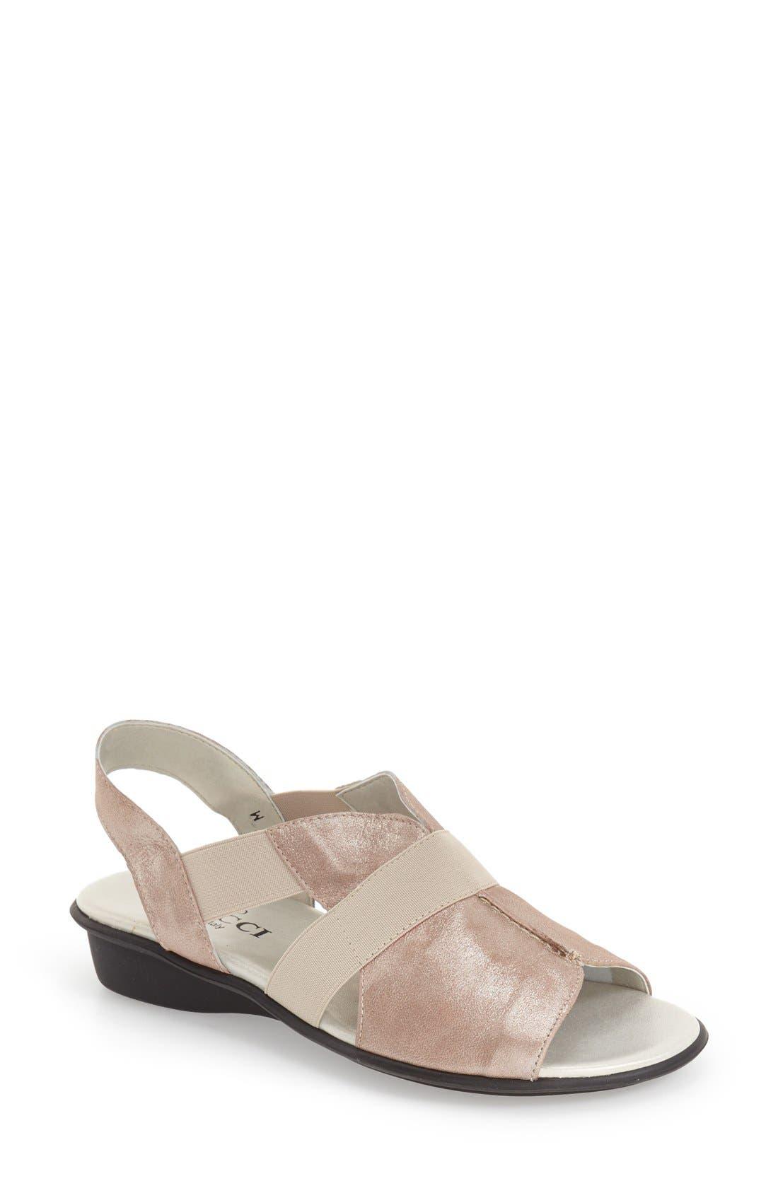 'Ella' Wedge Sandal,                         Main,                         color, SAND NUBUCK