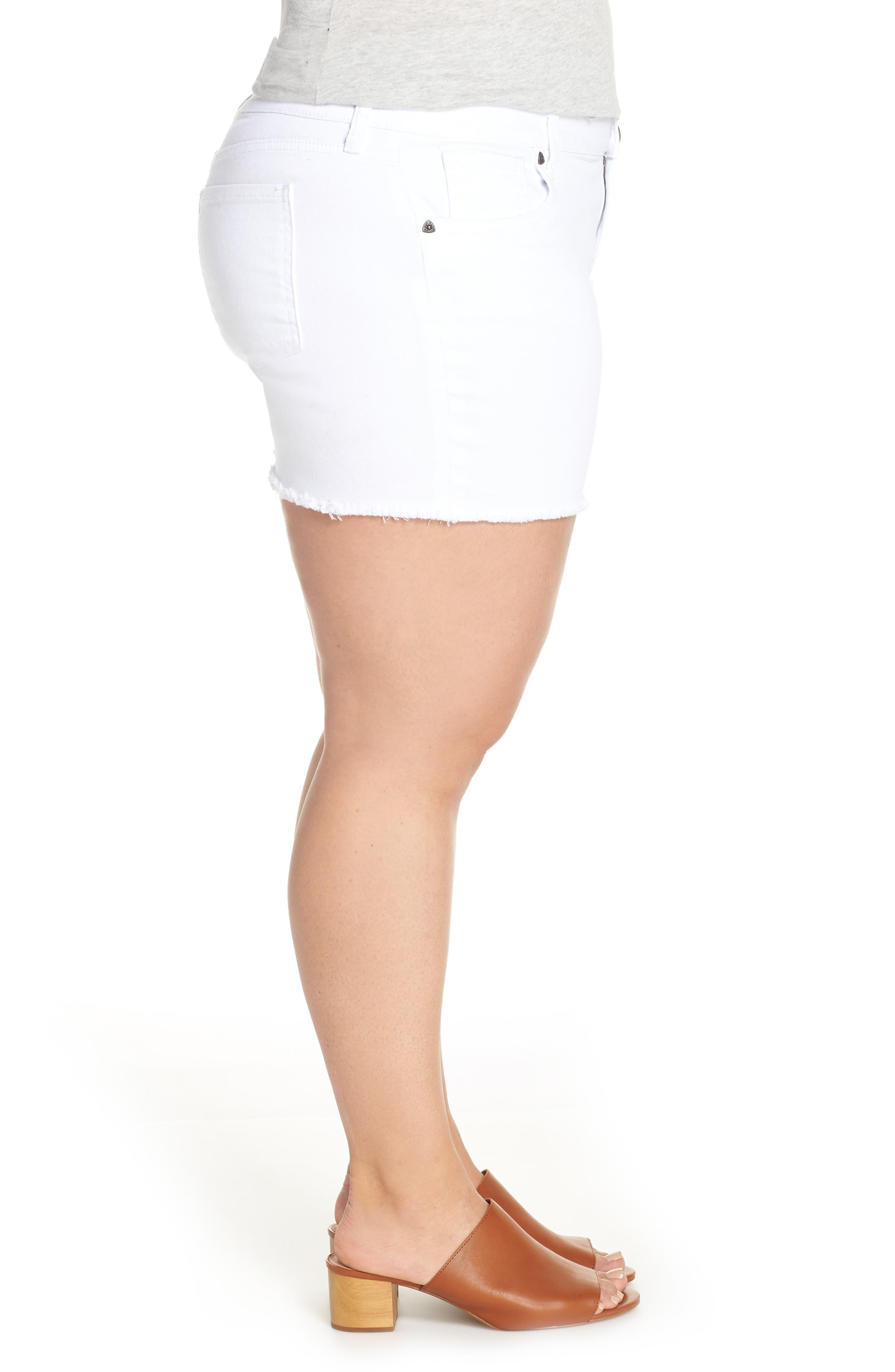 Gidget Raw Hem Shorts,                             Alternate thumbnail 5, color,                             OPTIC WHITE