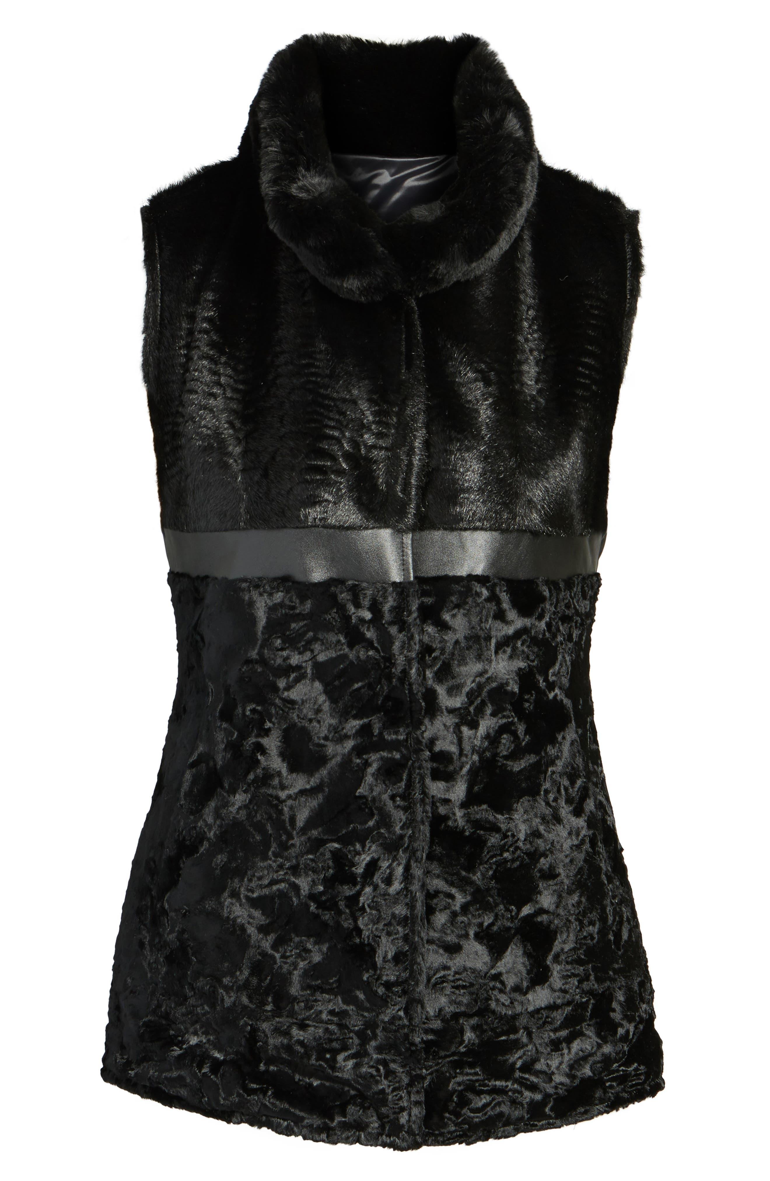 Reversible Faux Fur & Faux Leather Vest,                             Alternate thumbnail 6, color,                             019