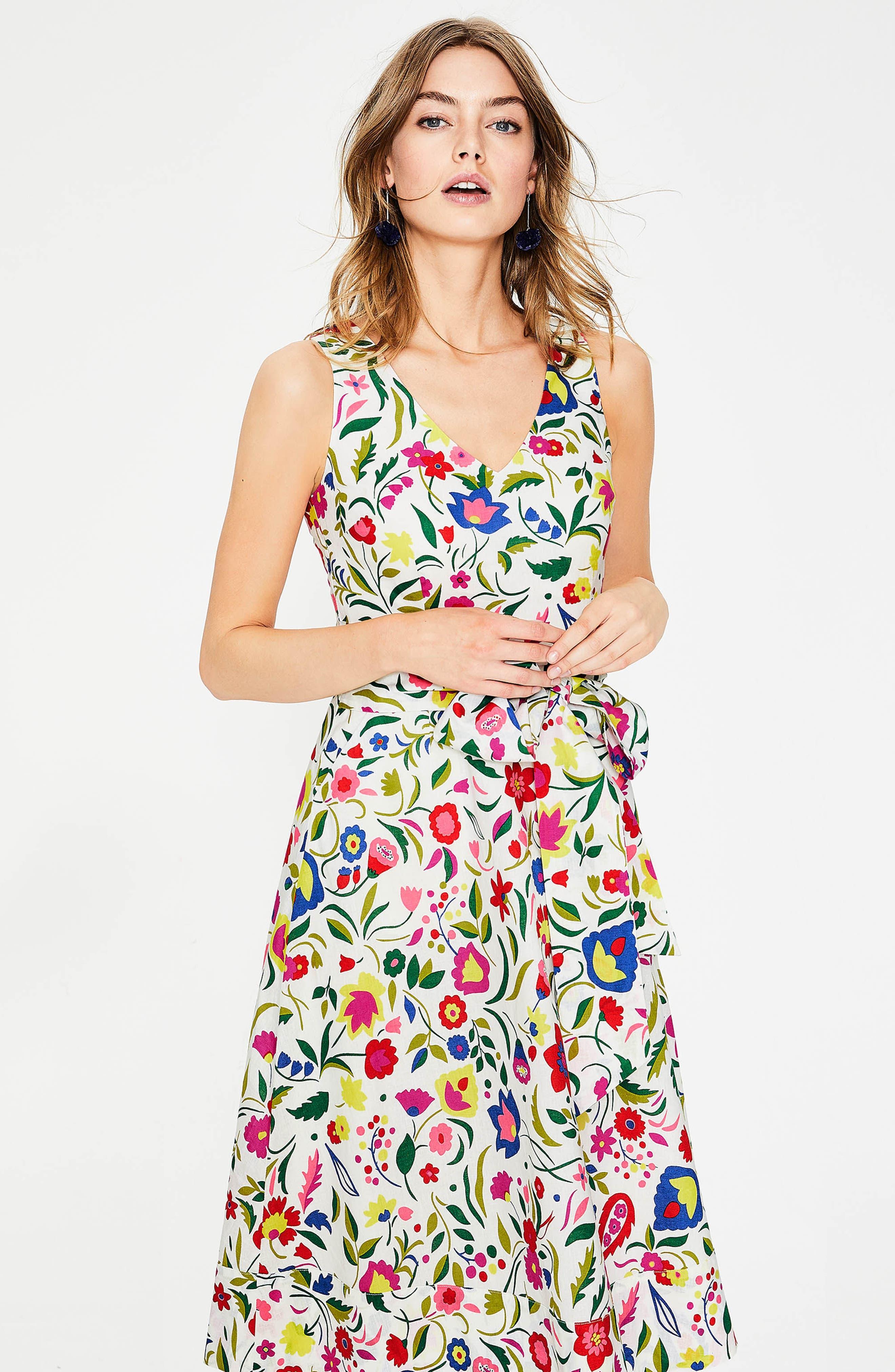Jade Fit & Flare Linen Cotton Dress,                             Alternate thumbnail 12, color,