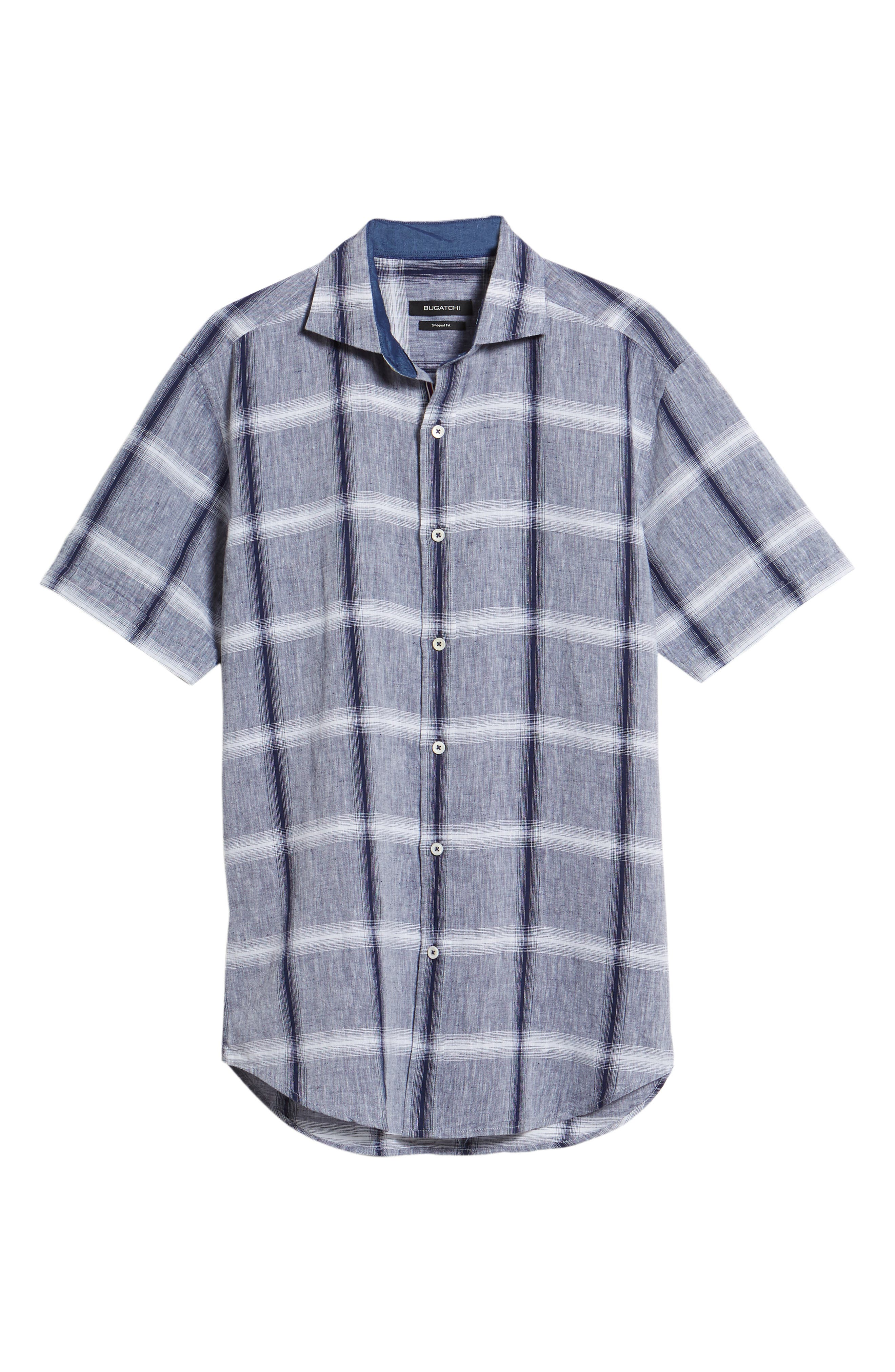 Shaped Fit Check Linen & Cotton Sport Shirt,                             Alternate thumbnail 6, color,                             NAVY