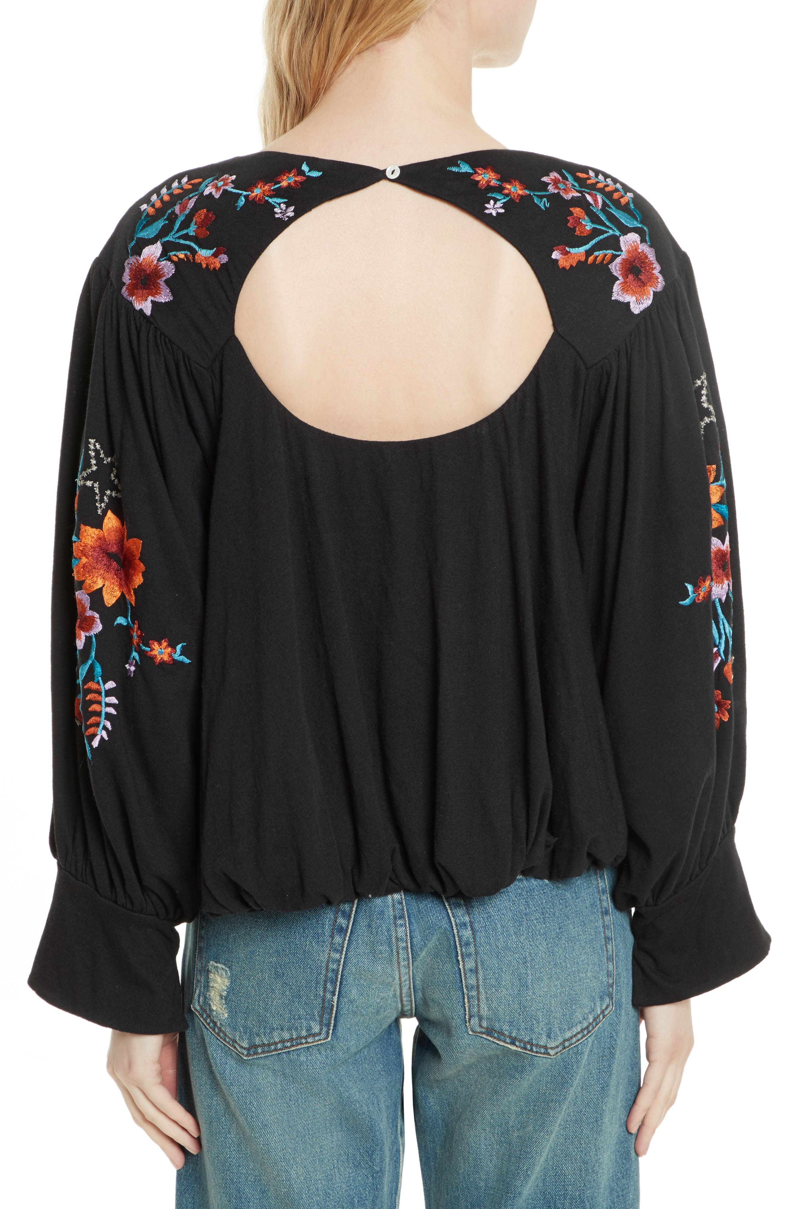 FREE PEOPLE,                             Lita Embroidered Bell Sleeve Top,                             Alternate thumbnail 2, color,                             001