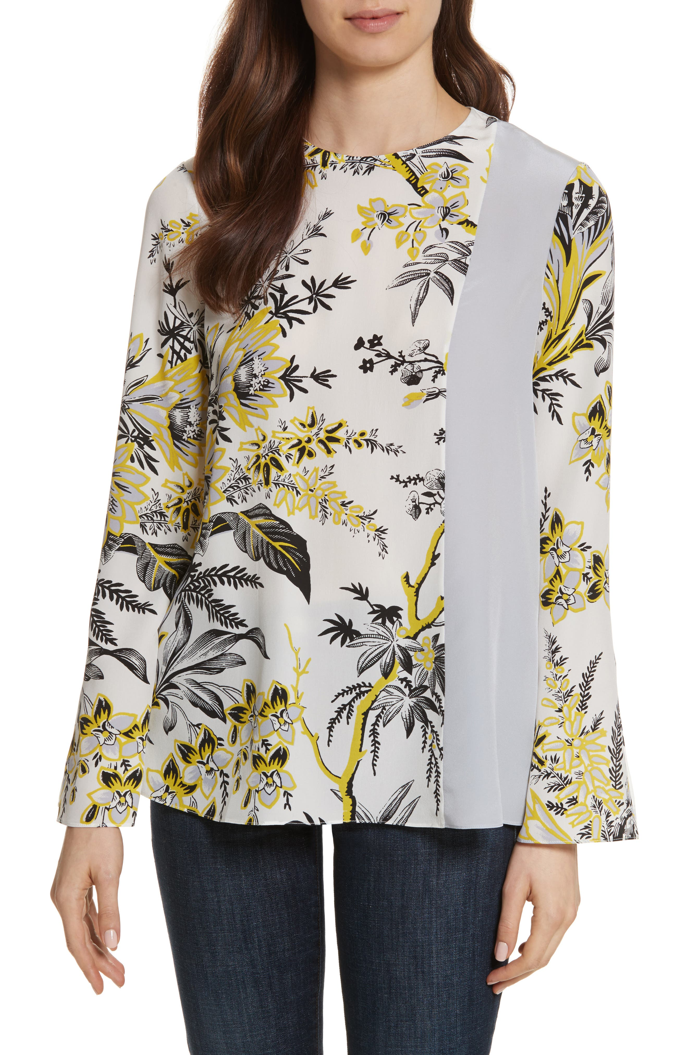 Diane von Furstenberg Side Slit Silk Blouse,                             Main thumbnail 1, color,