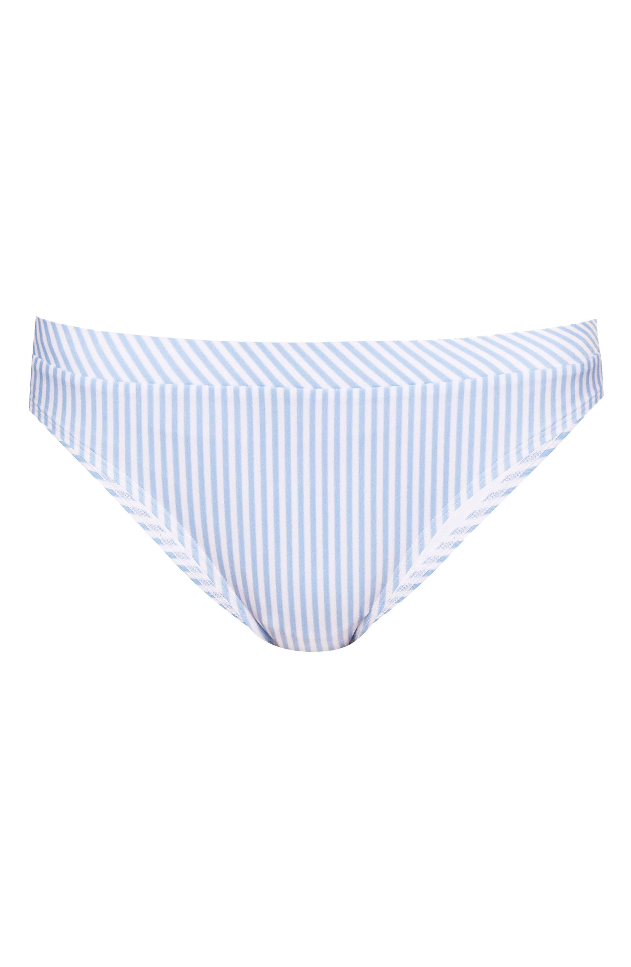 Stripe Bikini Bottoms,                             Alternate thumbnail 6, color,                             PALE BLUE