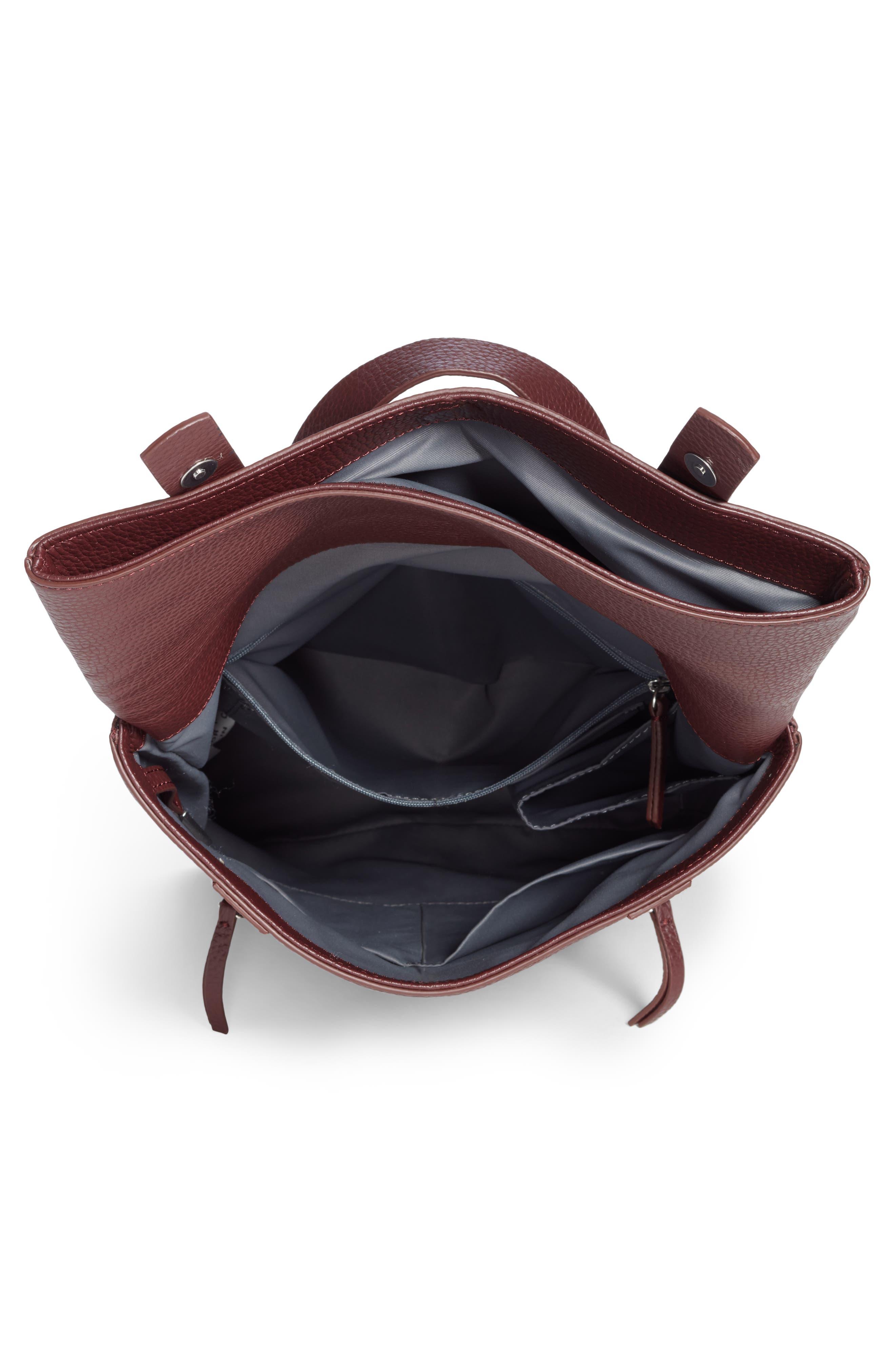 Remy Pebbled Leather Backpack,                             Alternate thumbnail 4, color,                             BURGUNDY FIG