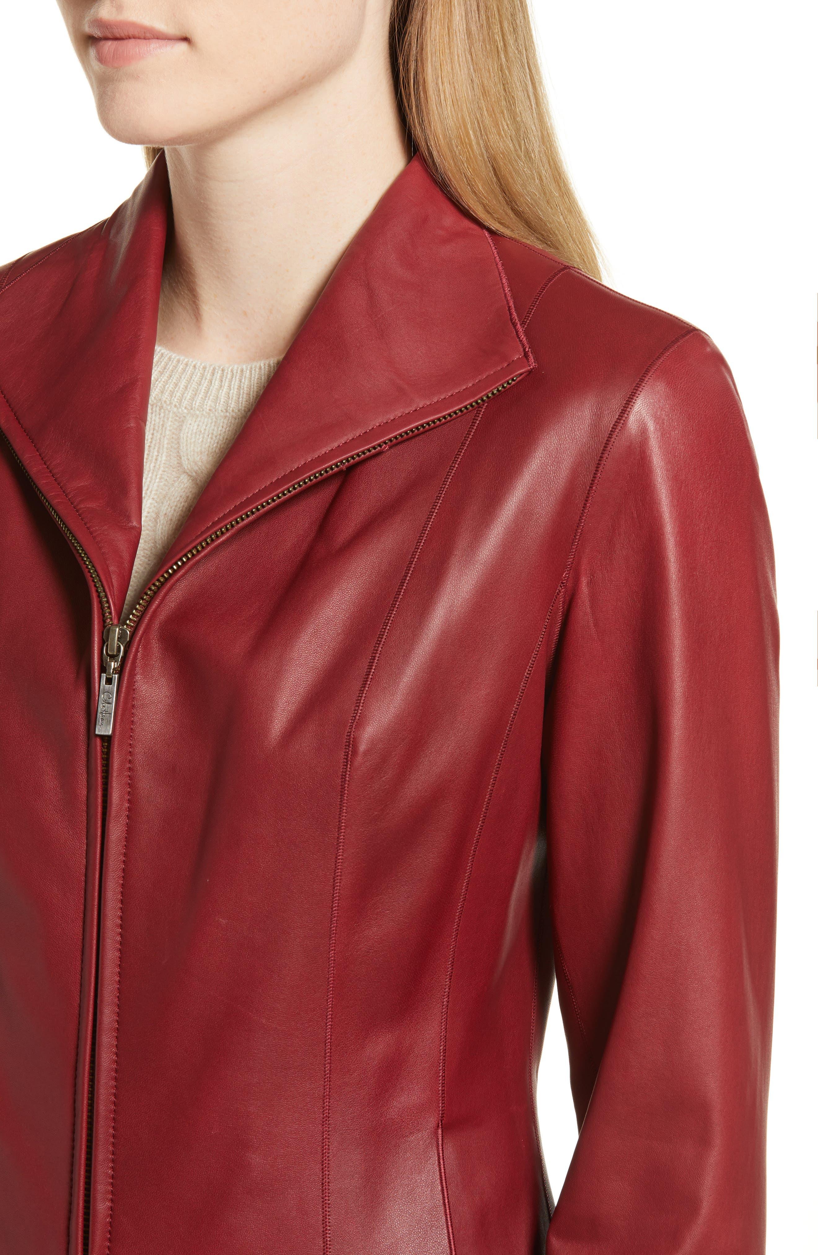 Lambskin Leather Scuba Jacket,                             Alternate thumbnail 4, color,                             RED