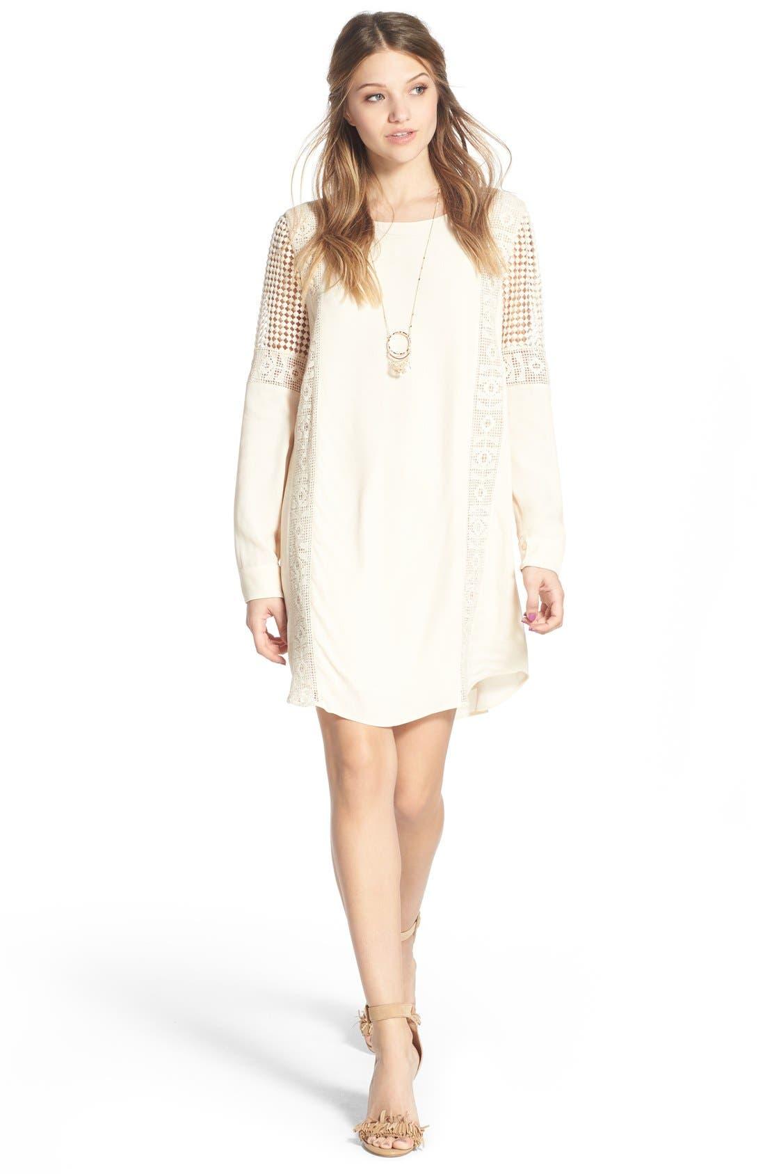 ASTR Crochet Inset Cotton Shift Dress,                             Alternate thumbnail 8, color,