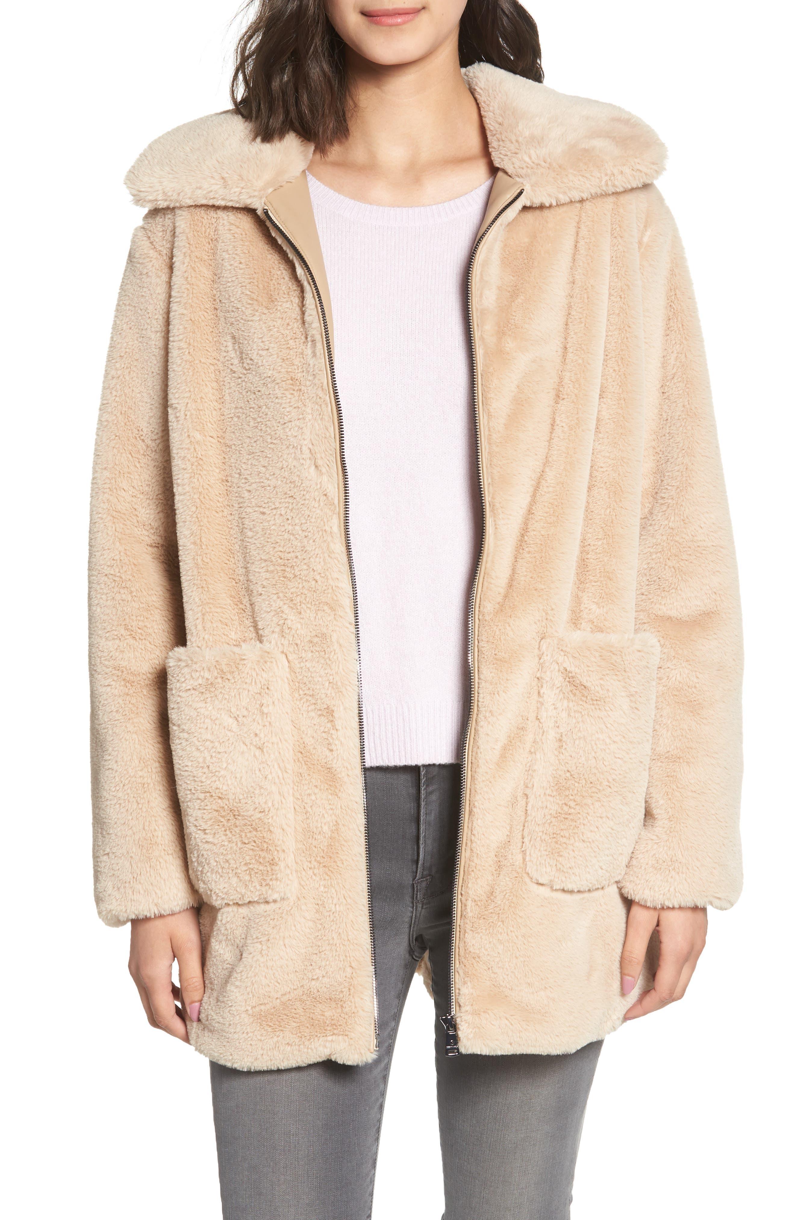 Faux Fur Coat, Main, color, BLUSH BEIGE