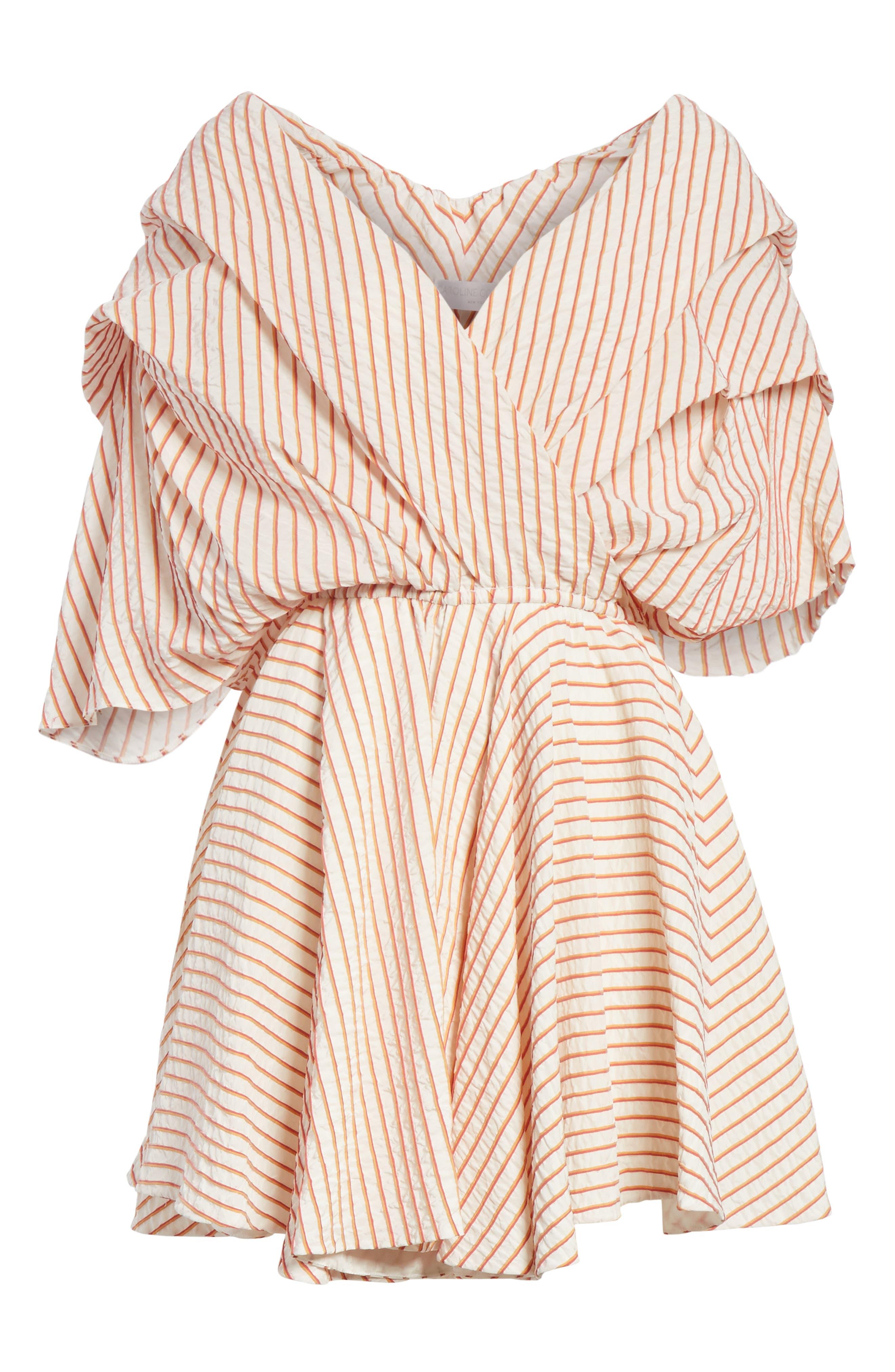 CAROLINE CONSTAS,                             Marcella Stripe Dress,                             Alternate thumbnail 6, color,                             800