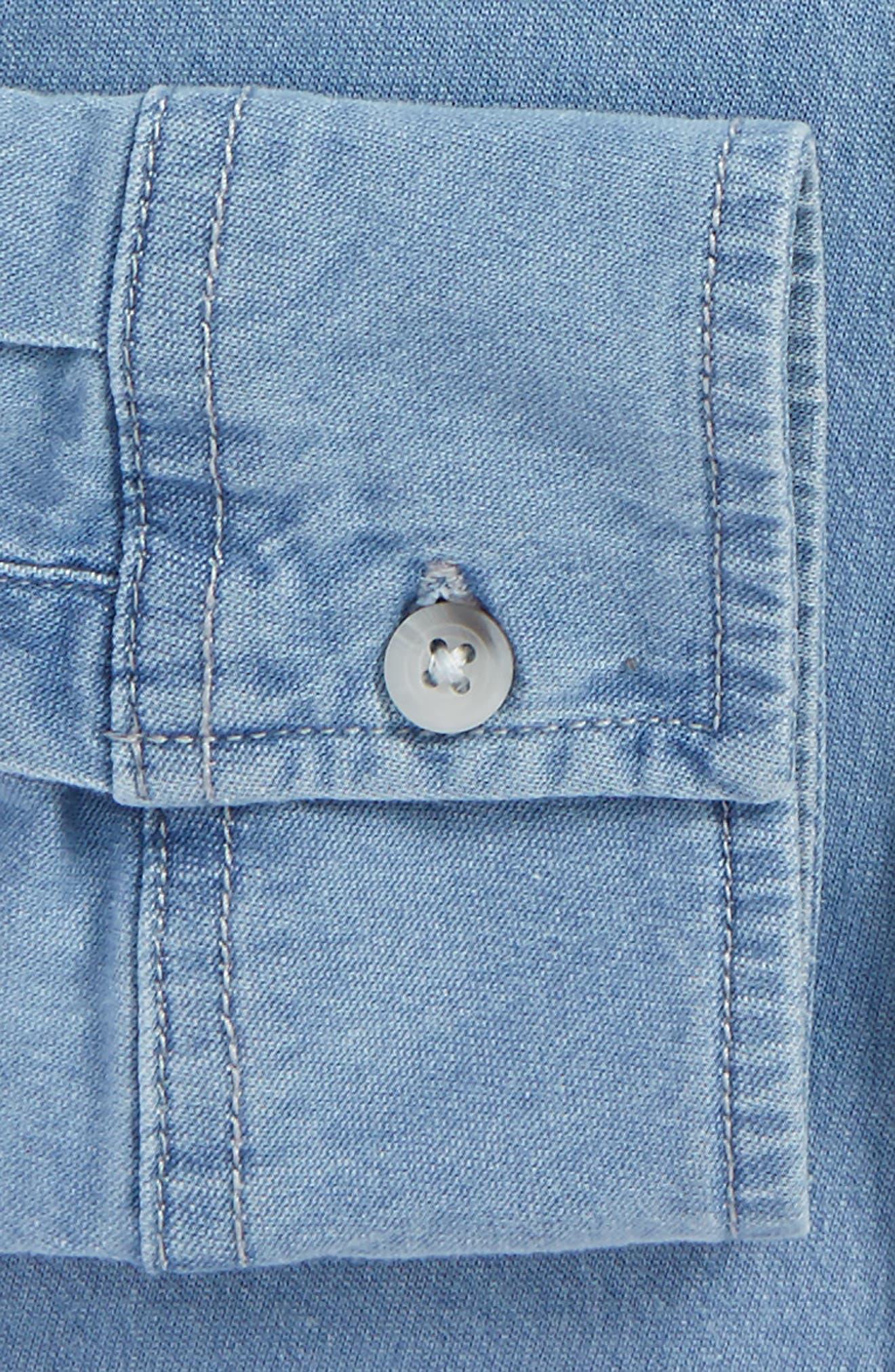 Muscle Fit Bleach Denim Shirt,                             Alternate thumbnail 2, color,                             BLUE