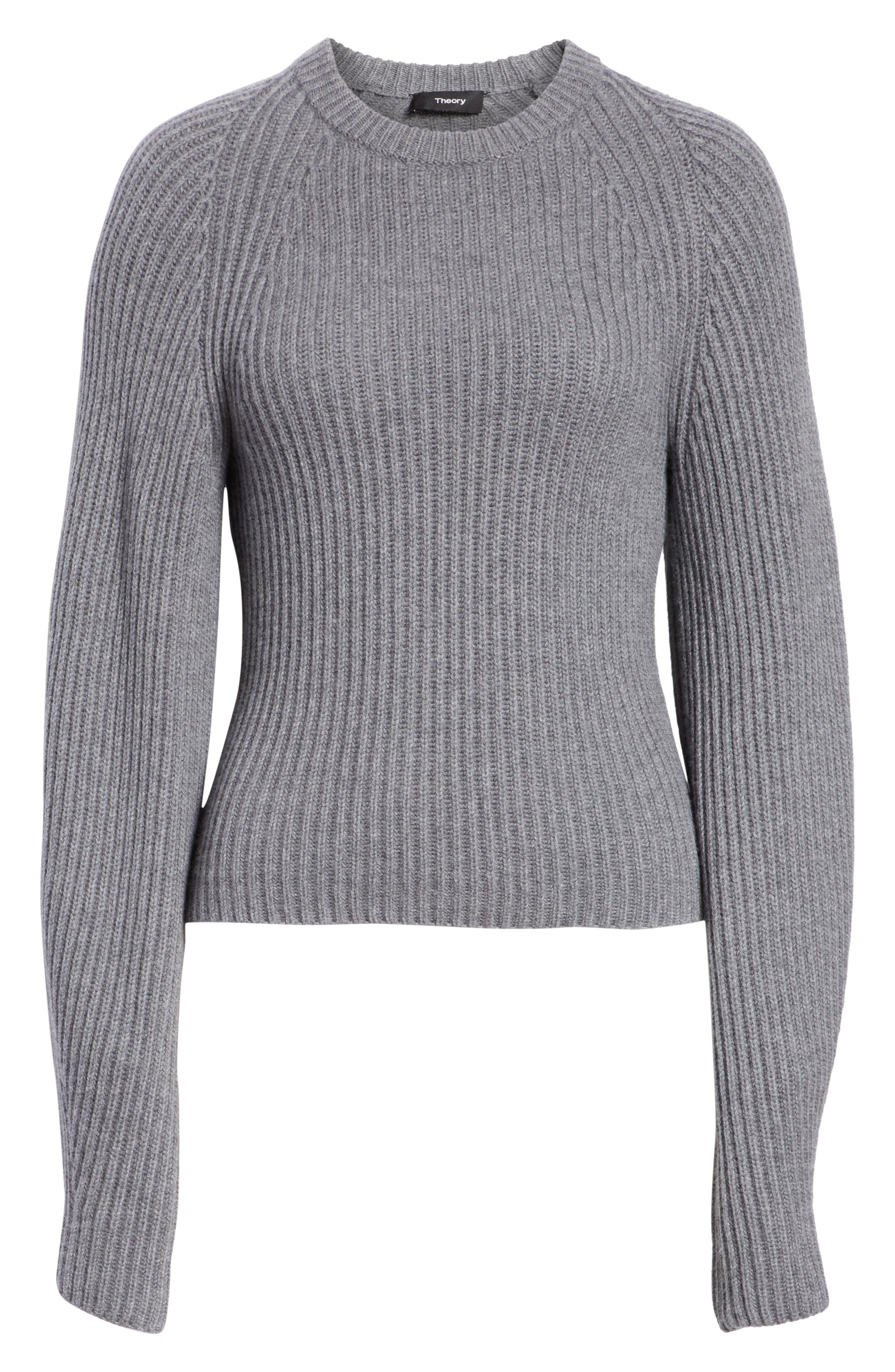 Sculpted Sleeve Shaker Stitch Merino Wool Sweater,                             Alternate thumbnail 6, color,                             CHARCOAL