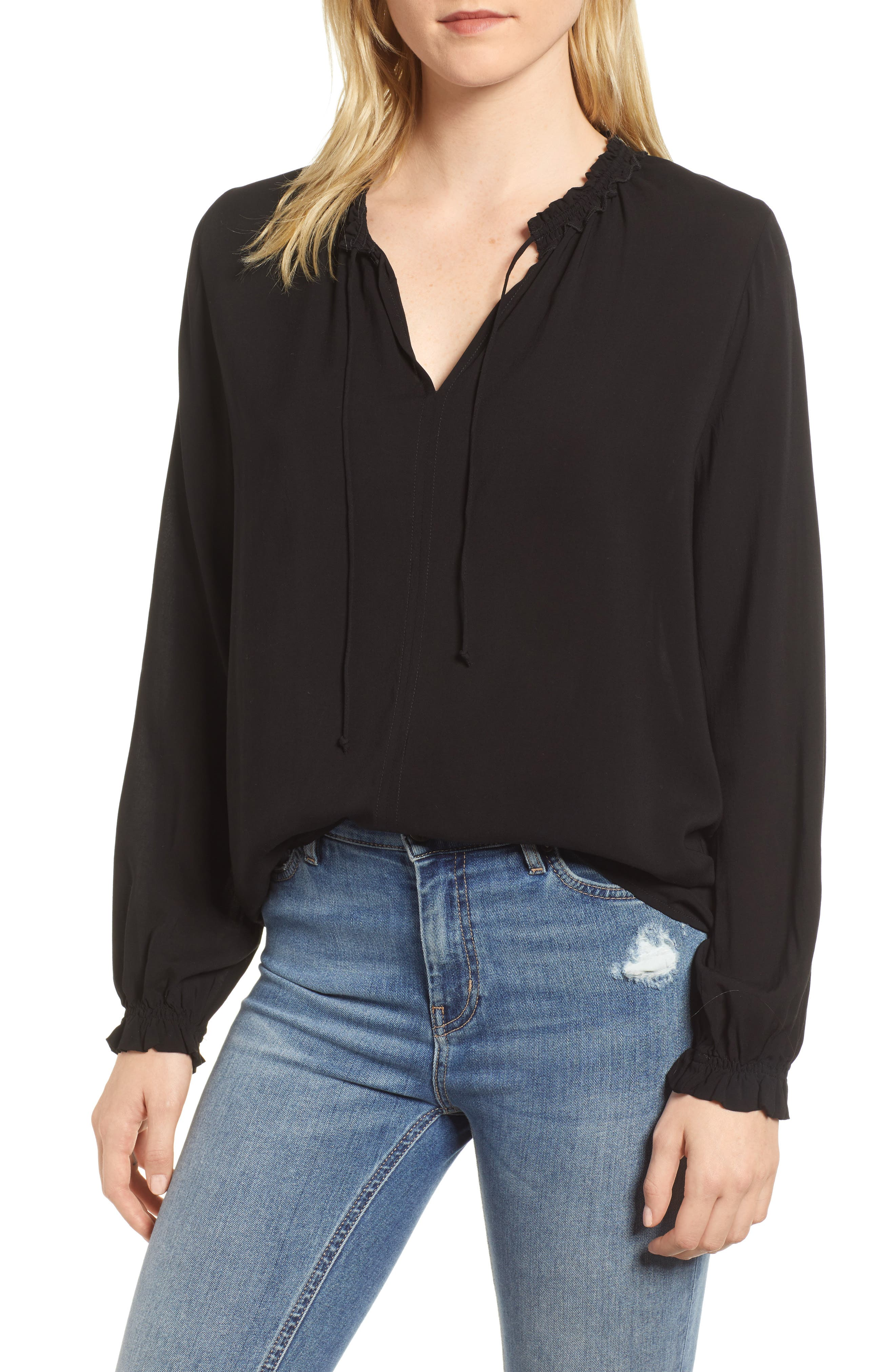 Ruffle Tie Neck Top,                             Main thumbnail 1, color,                             001