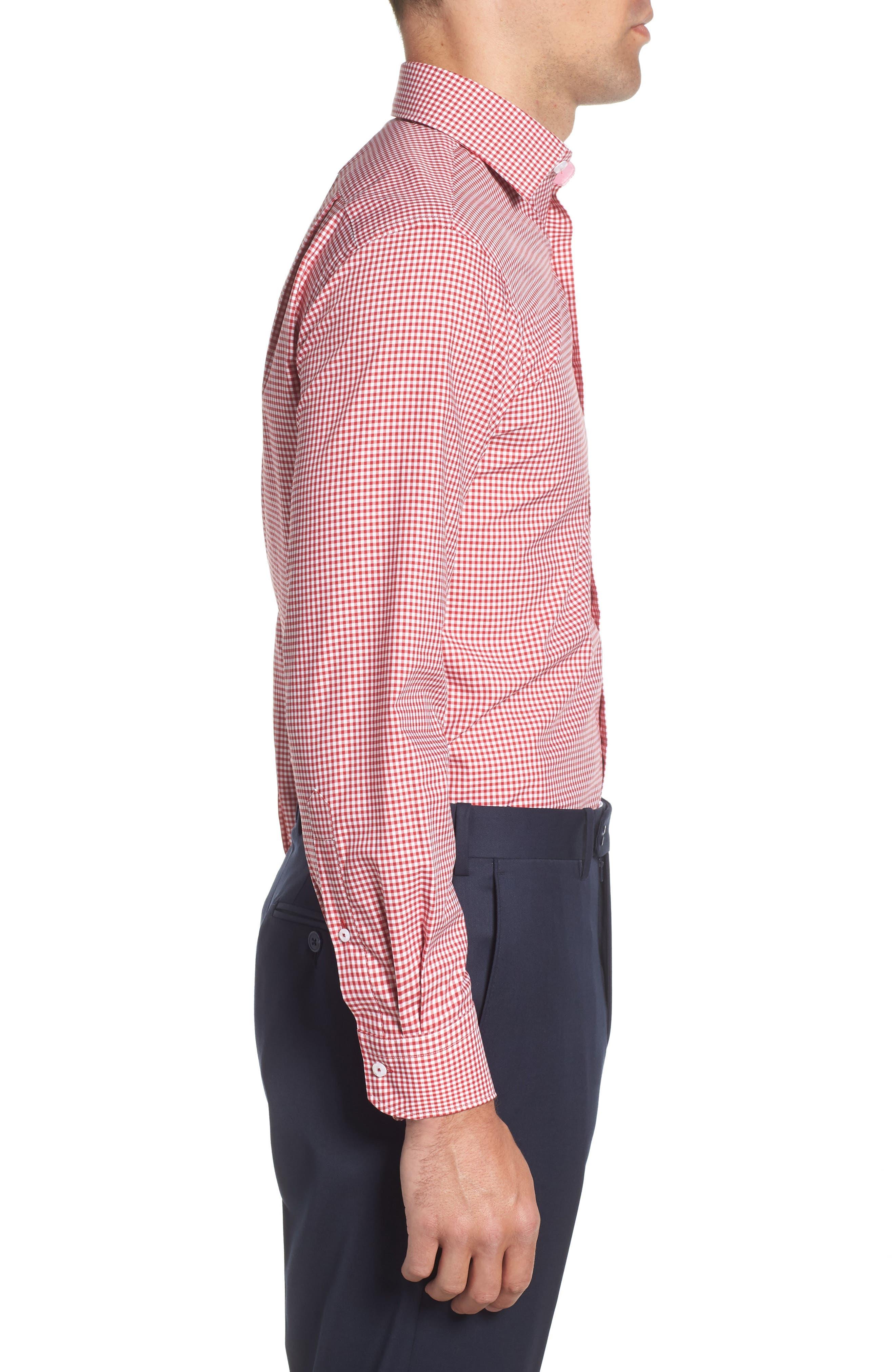 Trim Fit Check Dress Shirt,                             Alternate thumbnail 4, color,                             RED