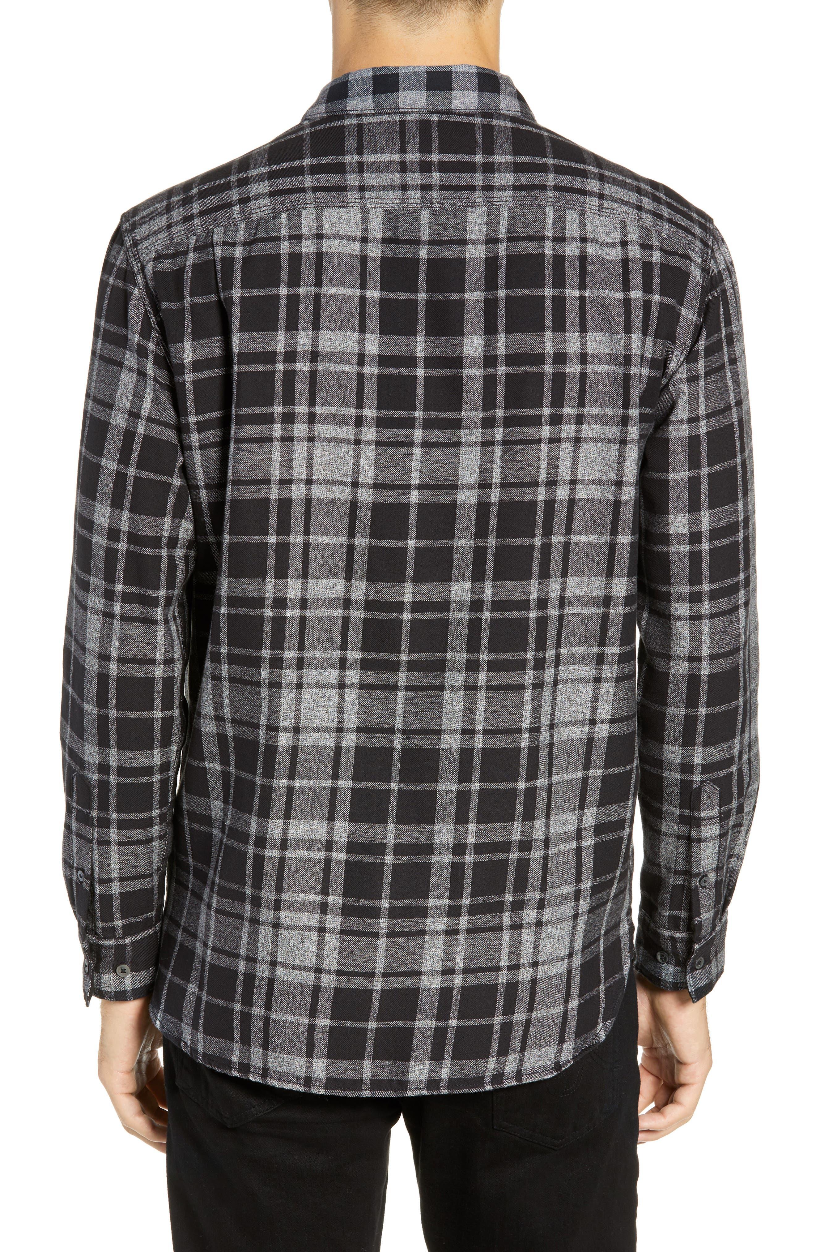 Bits & Pieces Loose Fit Sport Shirt,                             Alternate thumbnail 3, color,                             BLACK CHECKS