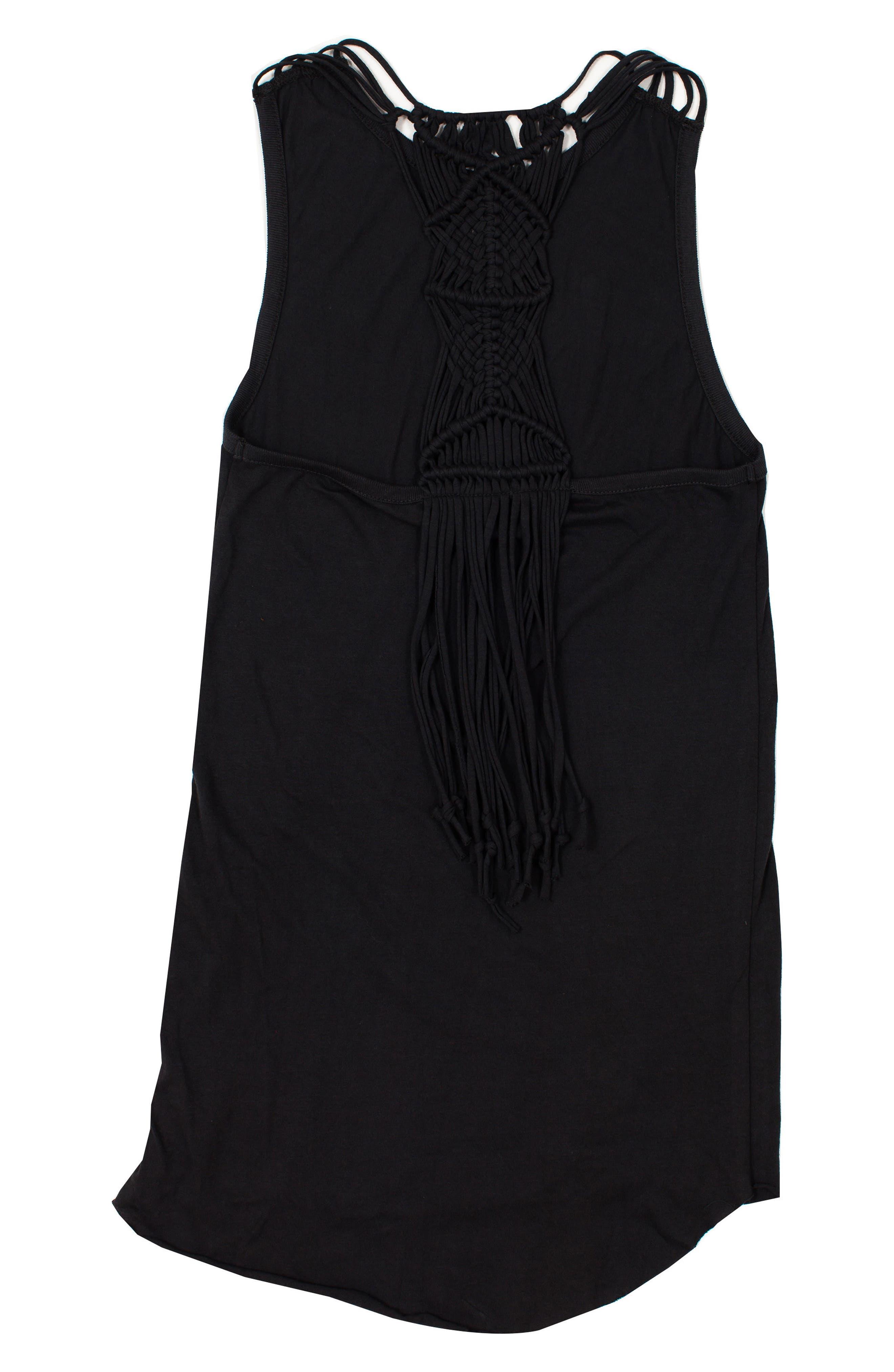 Knotted Up Macramé Back Dress,                             Alternate thumbnail 2, color,                             TITANIUM