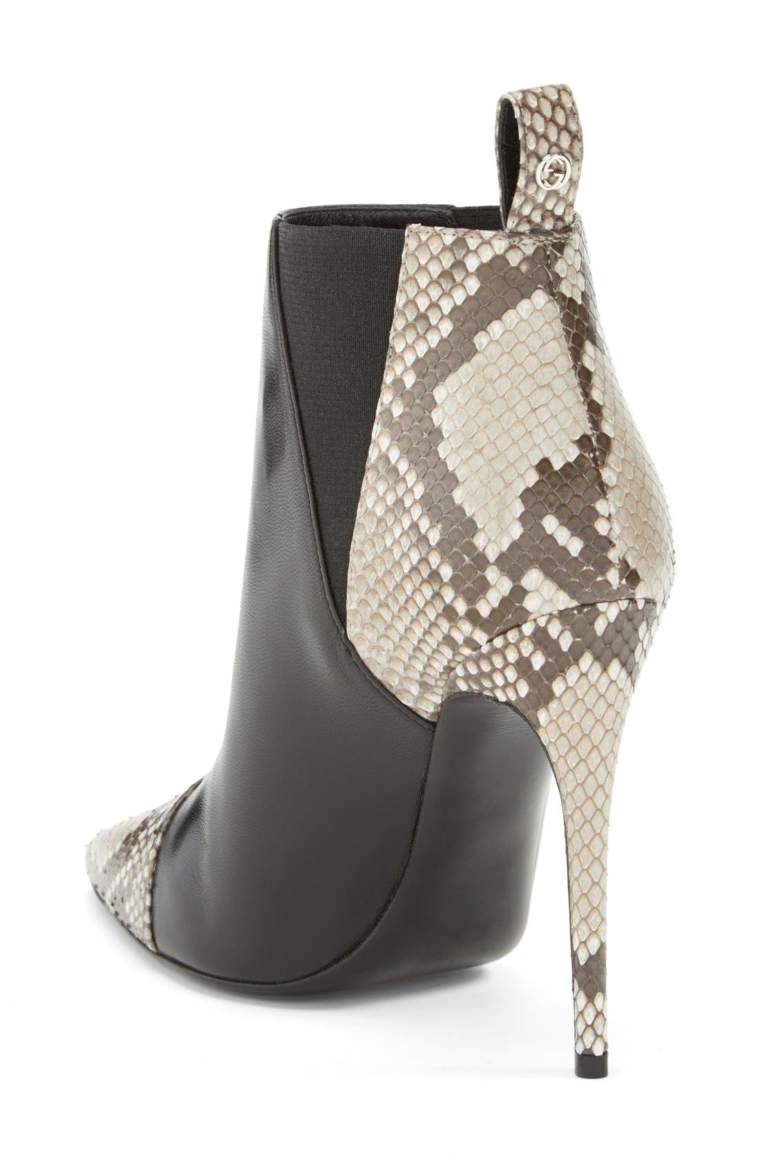 'Daisy' Pointy Toe Genuine Python & Leather Bootie,                             Alternate thumbnail 2, color,                             001