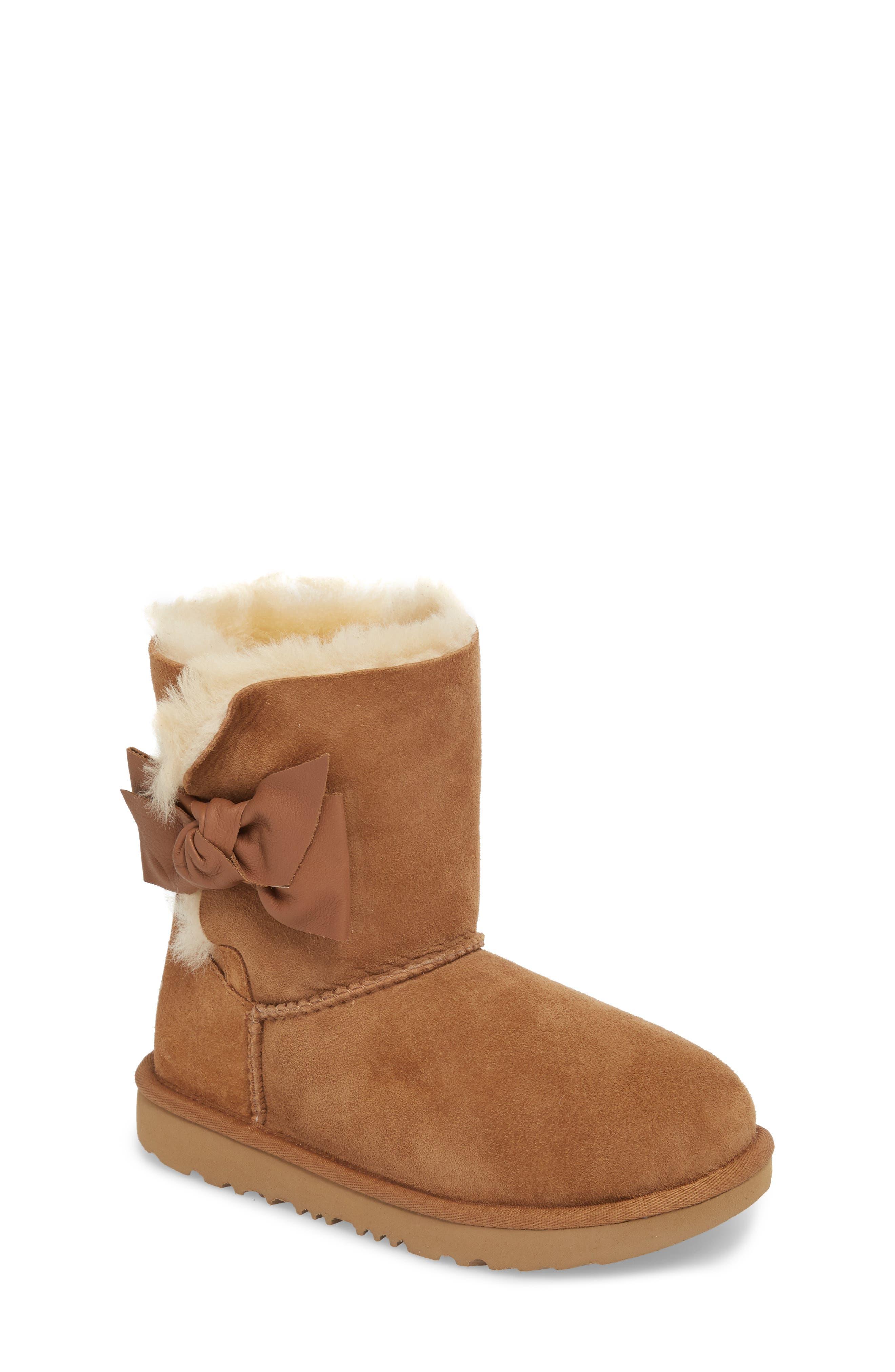 Daelynn Bow Genuine Shearling Boot,                             Main thumbnail 1, color,                             CHESTNUT