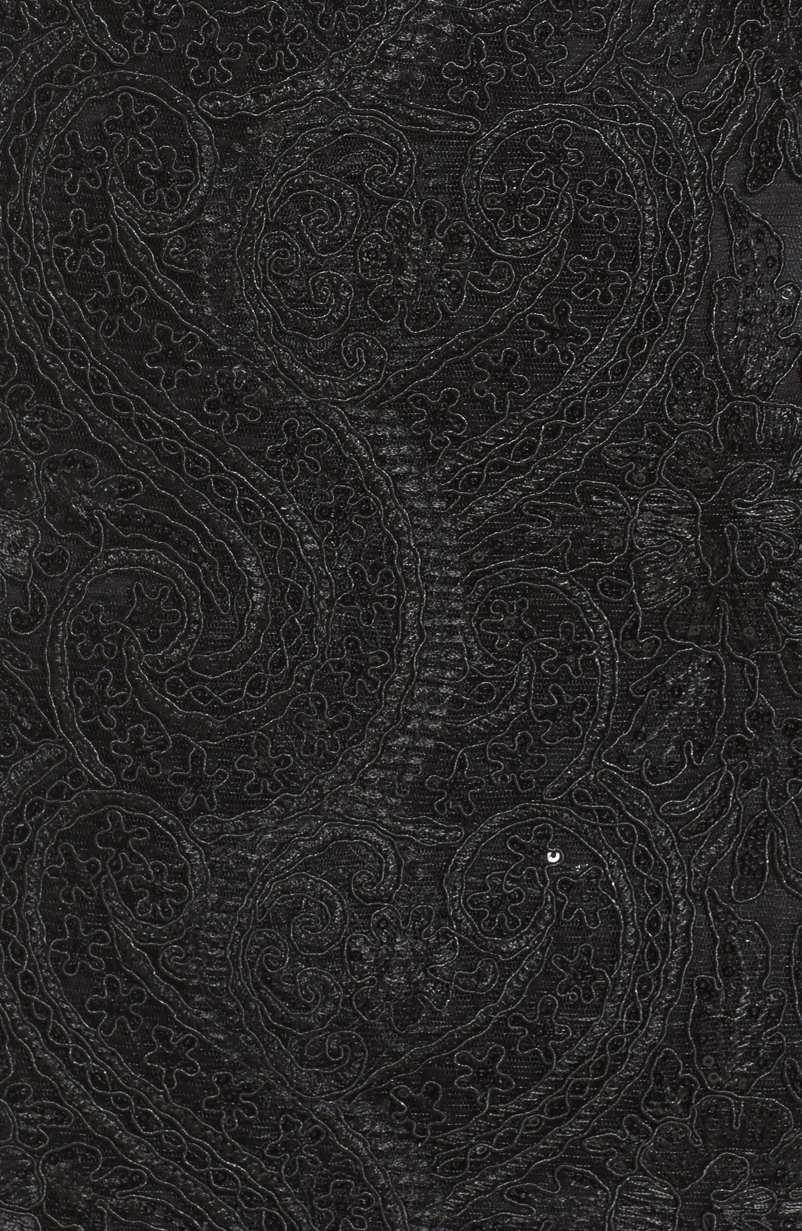 Illusion Neck Lace Sheath Dress,                             Alternate thumbnail 5, color,                             001