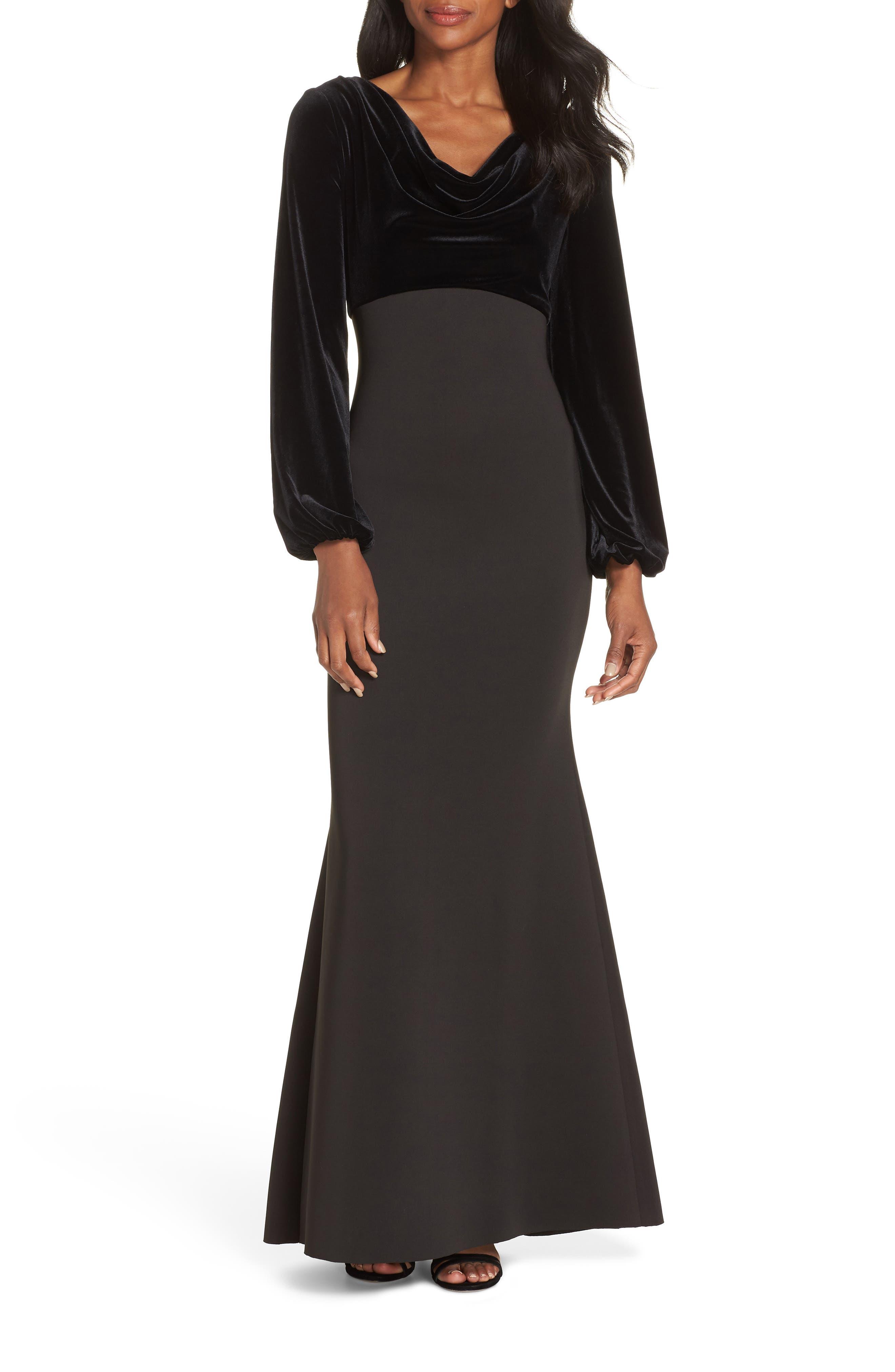 Cowl Neck Mermaid Gown,                             Main thumbnail 1, color,                             BLACK