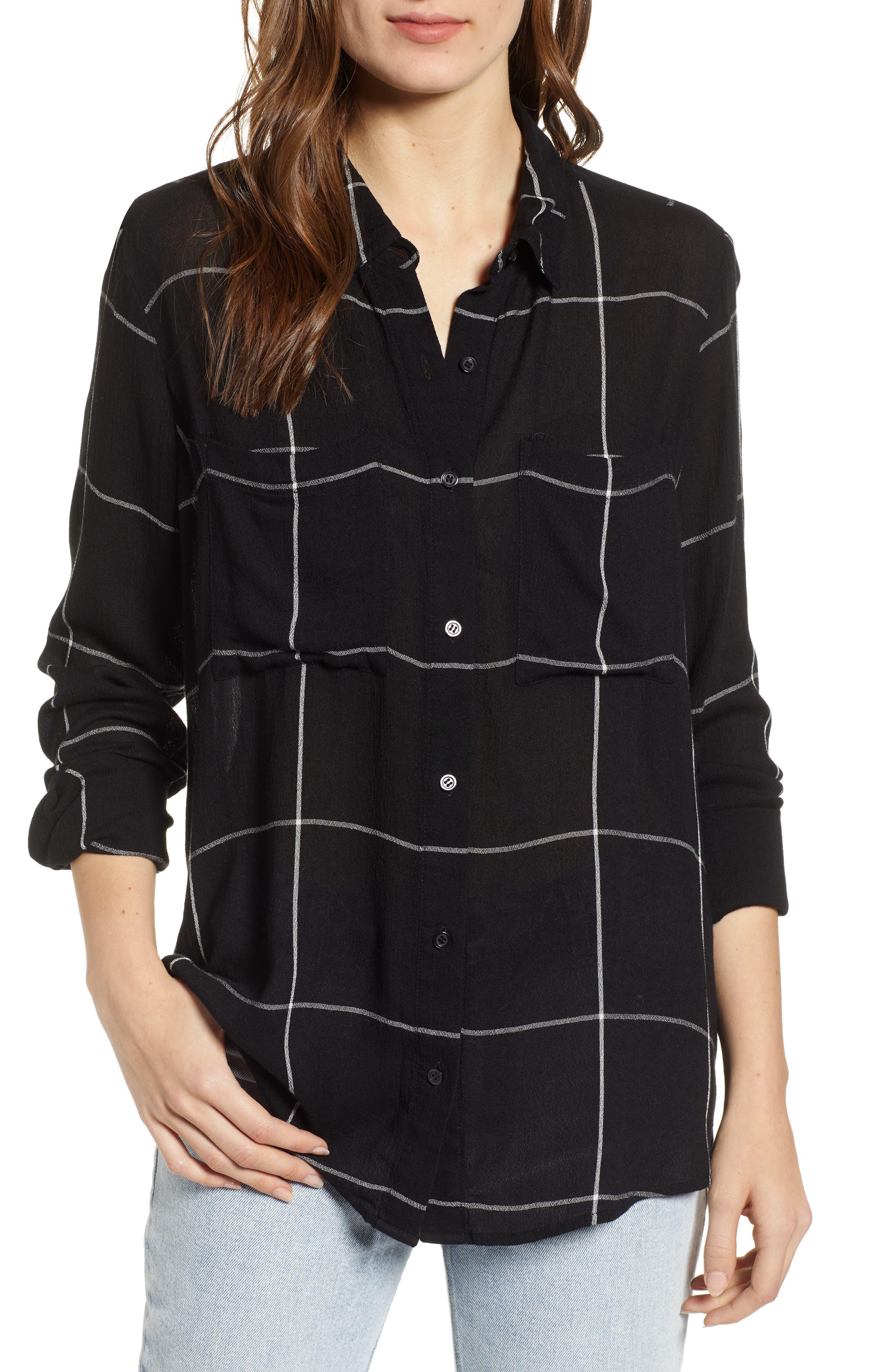 BP.,                             The Perfect Shirt,                             Main thumbnail 1, color,                             BLACK MAZY WINDOW PANE