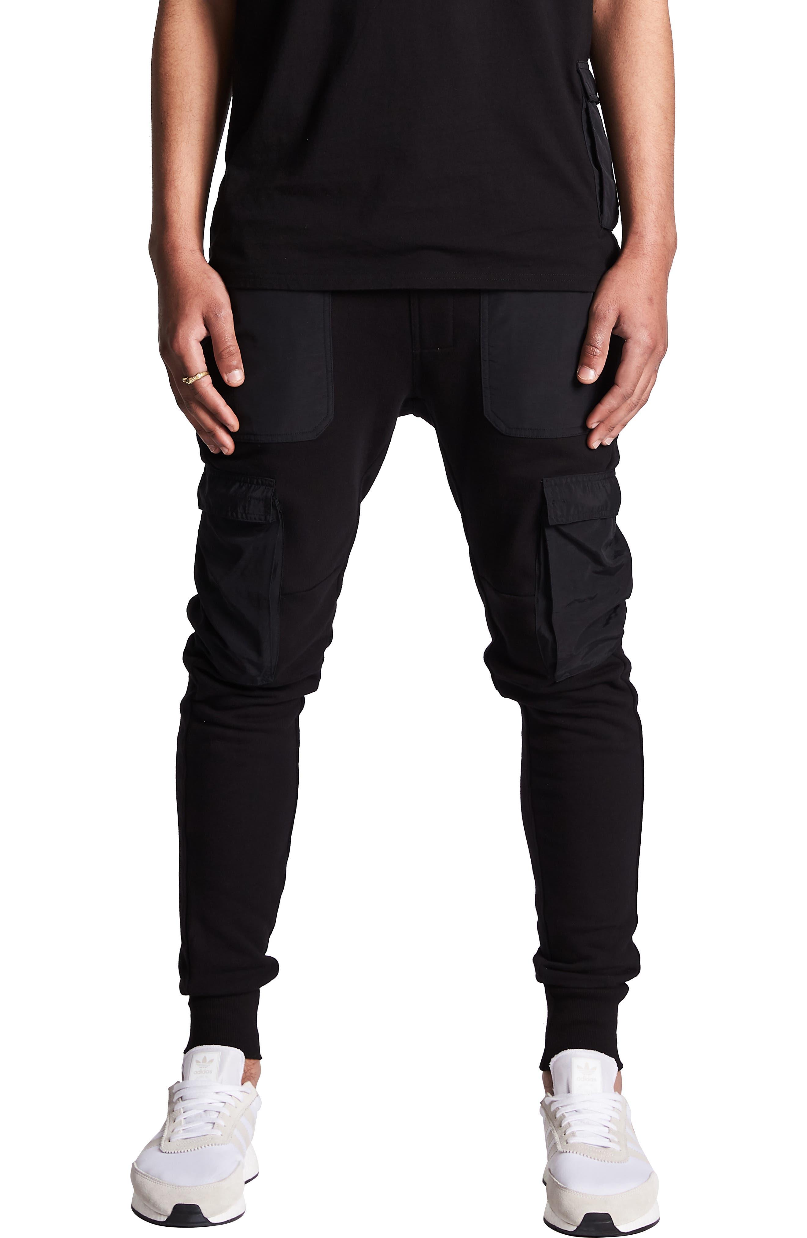 Nxp Selector Fleece Cargo Jogger Pants, Black