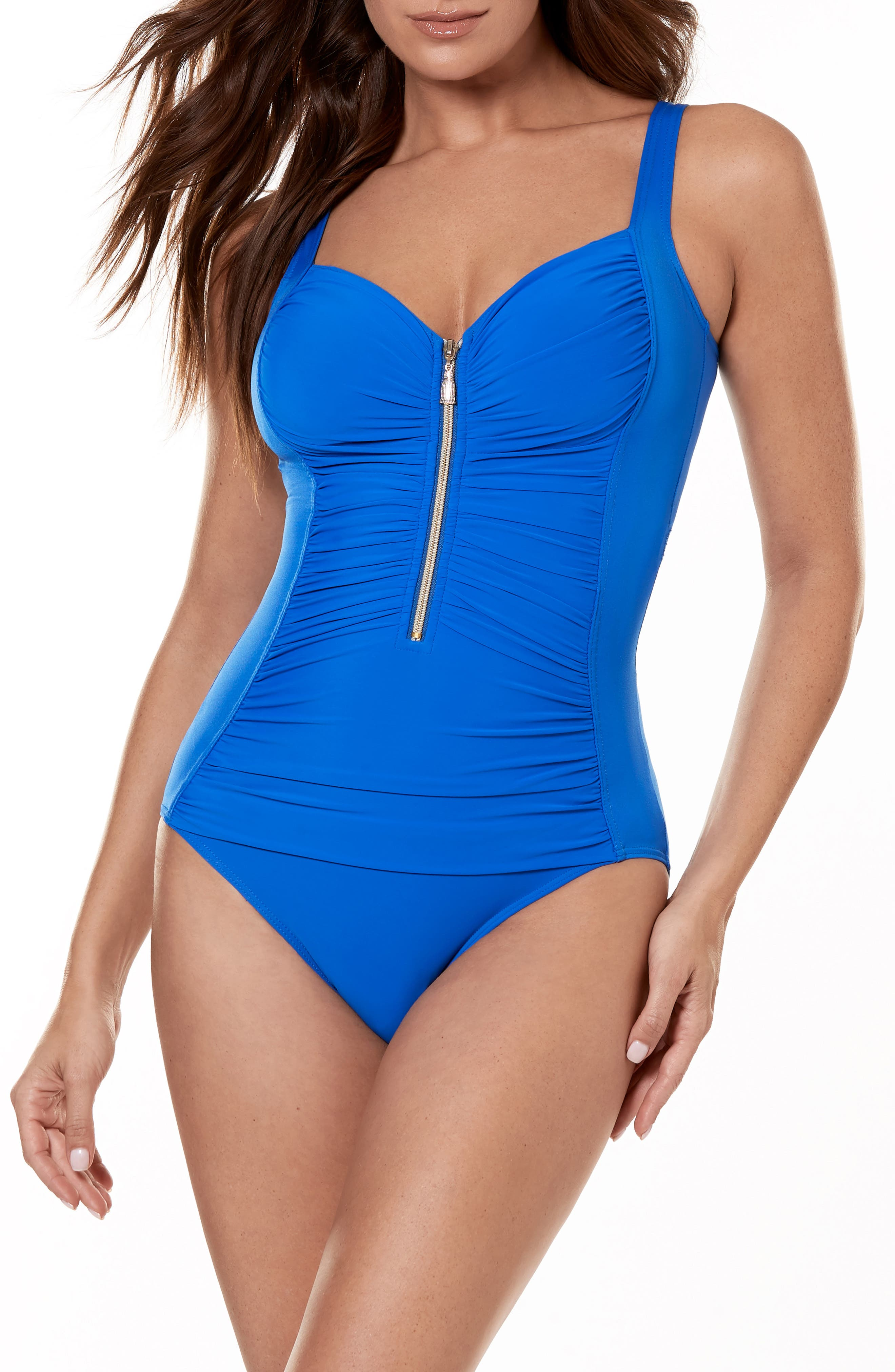 Miraclesuit So Riche Zip Code One-Piece Swimsuit