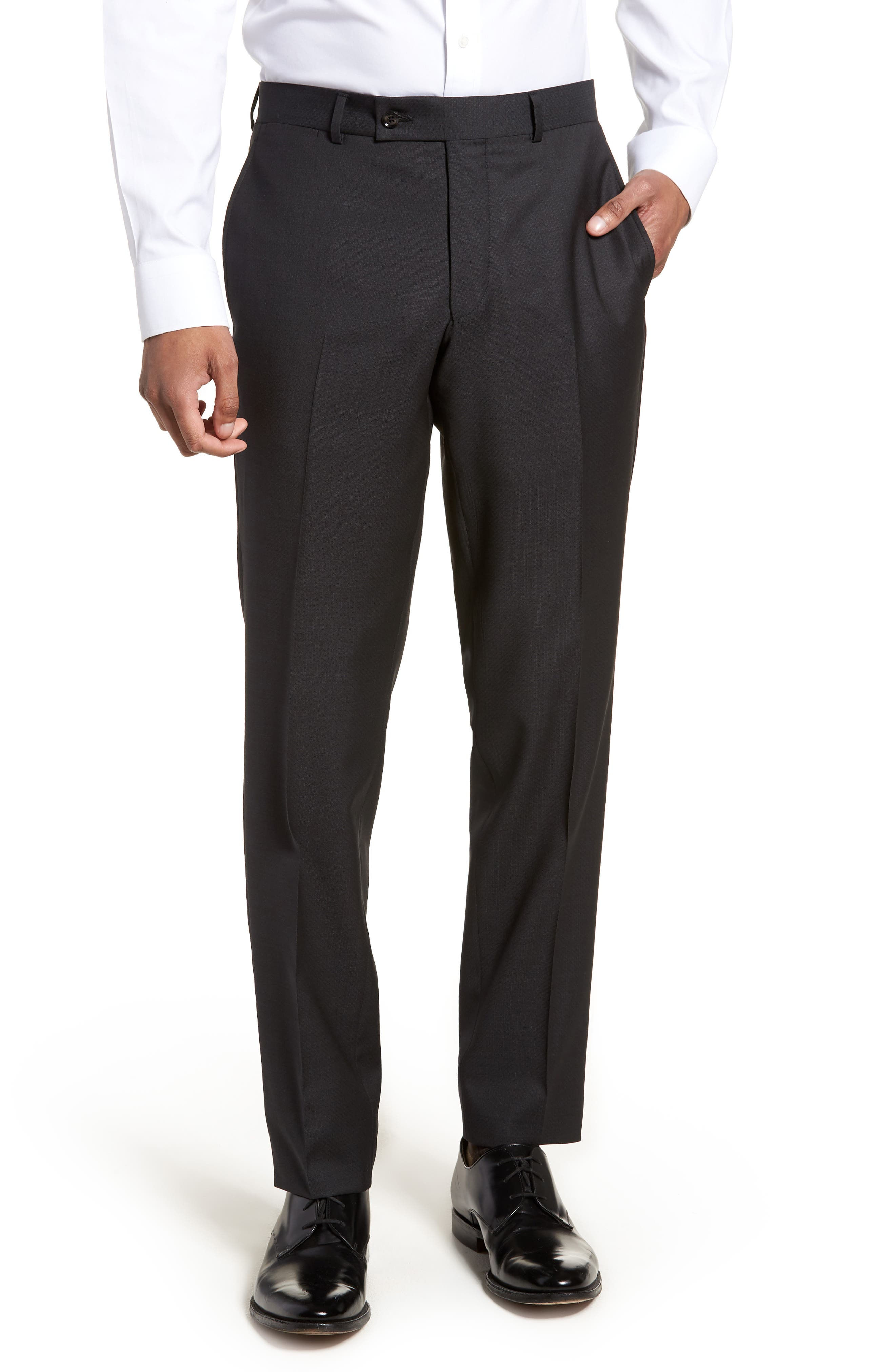 Jay Trim Fit Solid Wool Suit,                             Alternate thumbnail 6, color,                             001