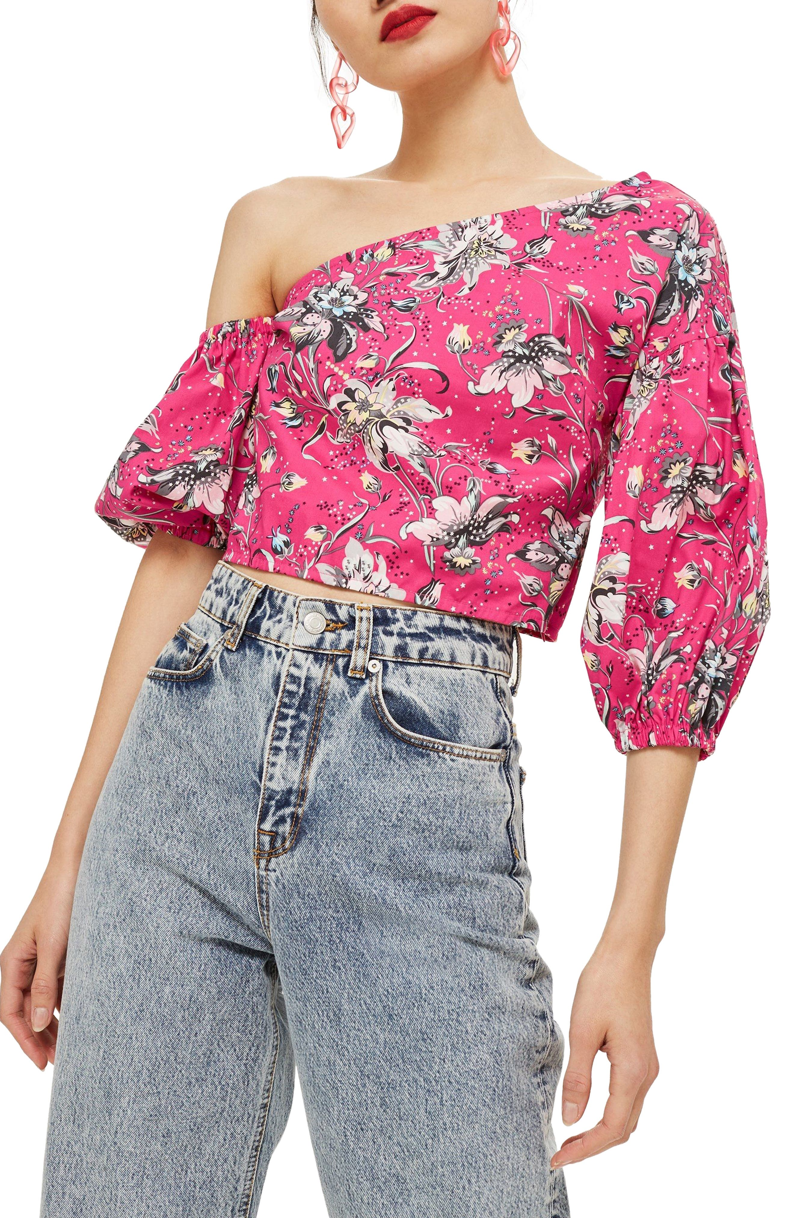 Floral Puff Off the Shoulder Top,                         Main,                         color, 651