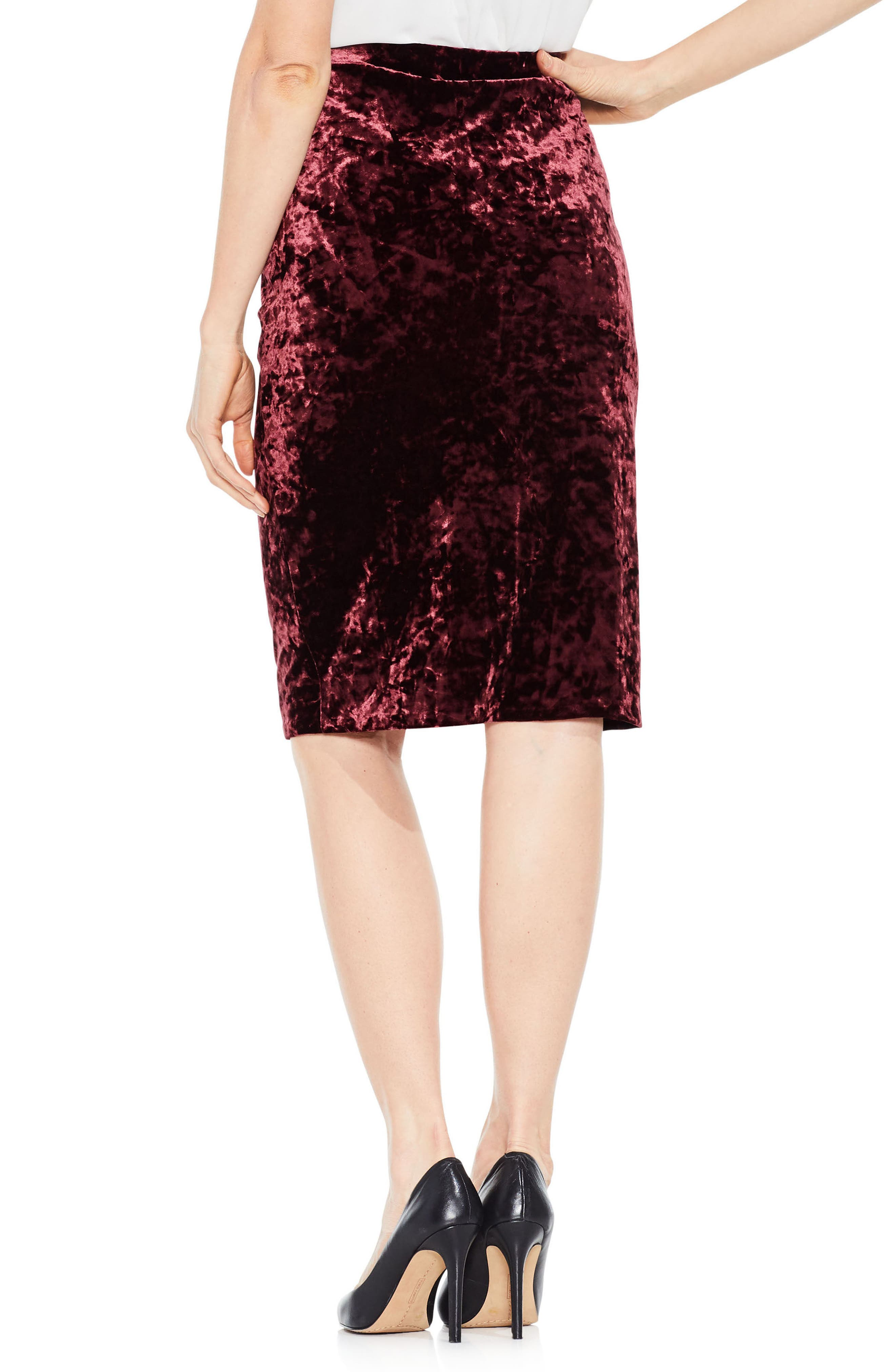 Crushed Velvet Pencil Skirt,                             Alternate thumbnail 2, color,
