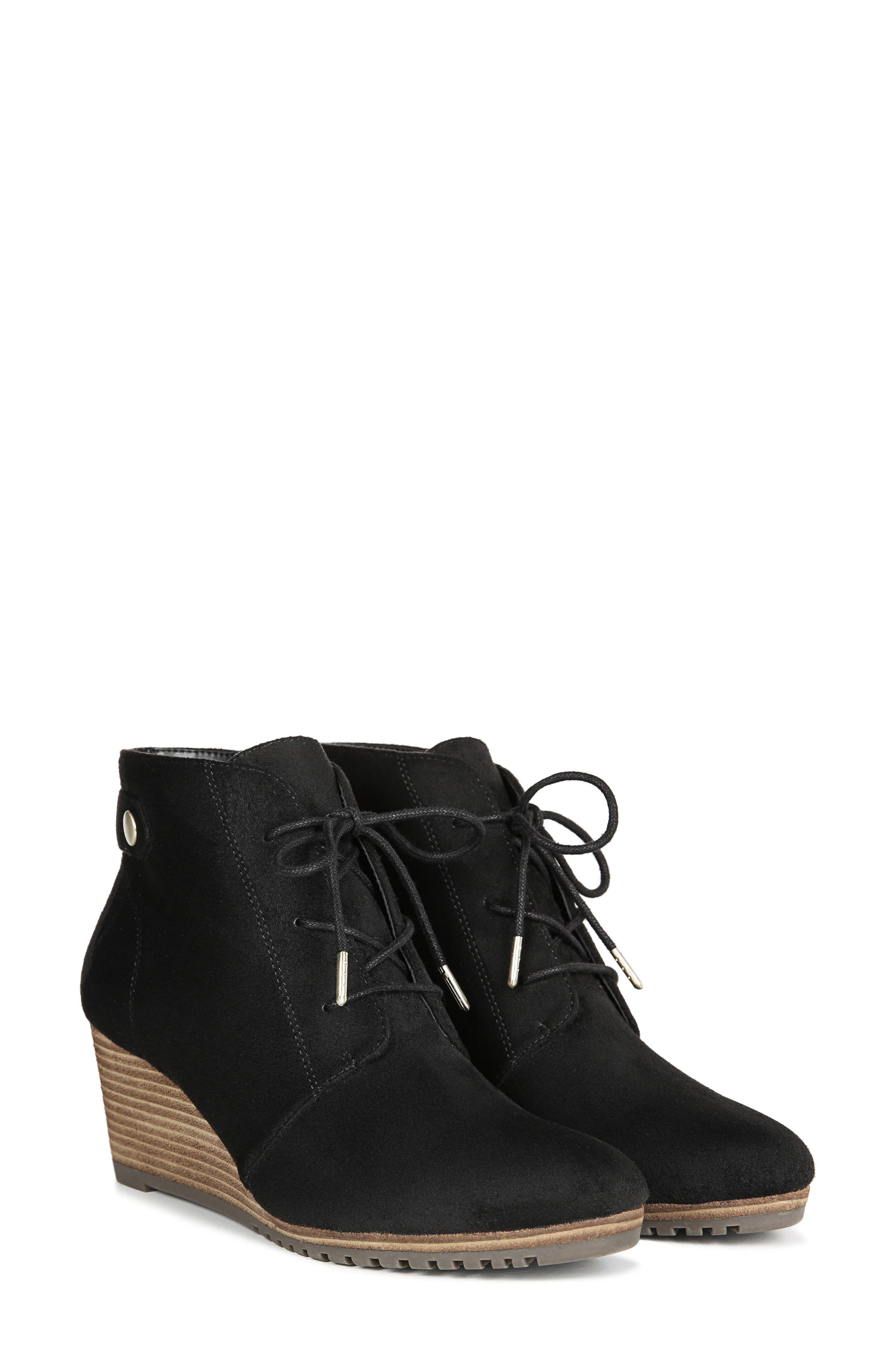 Conquer Wedge Bootie,                             Alternate thumbnail 8, color,                             BLACK FABRIC