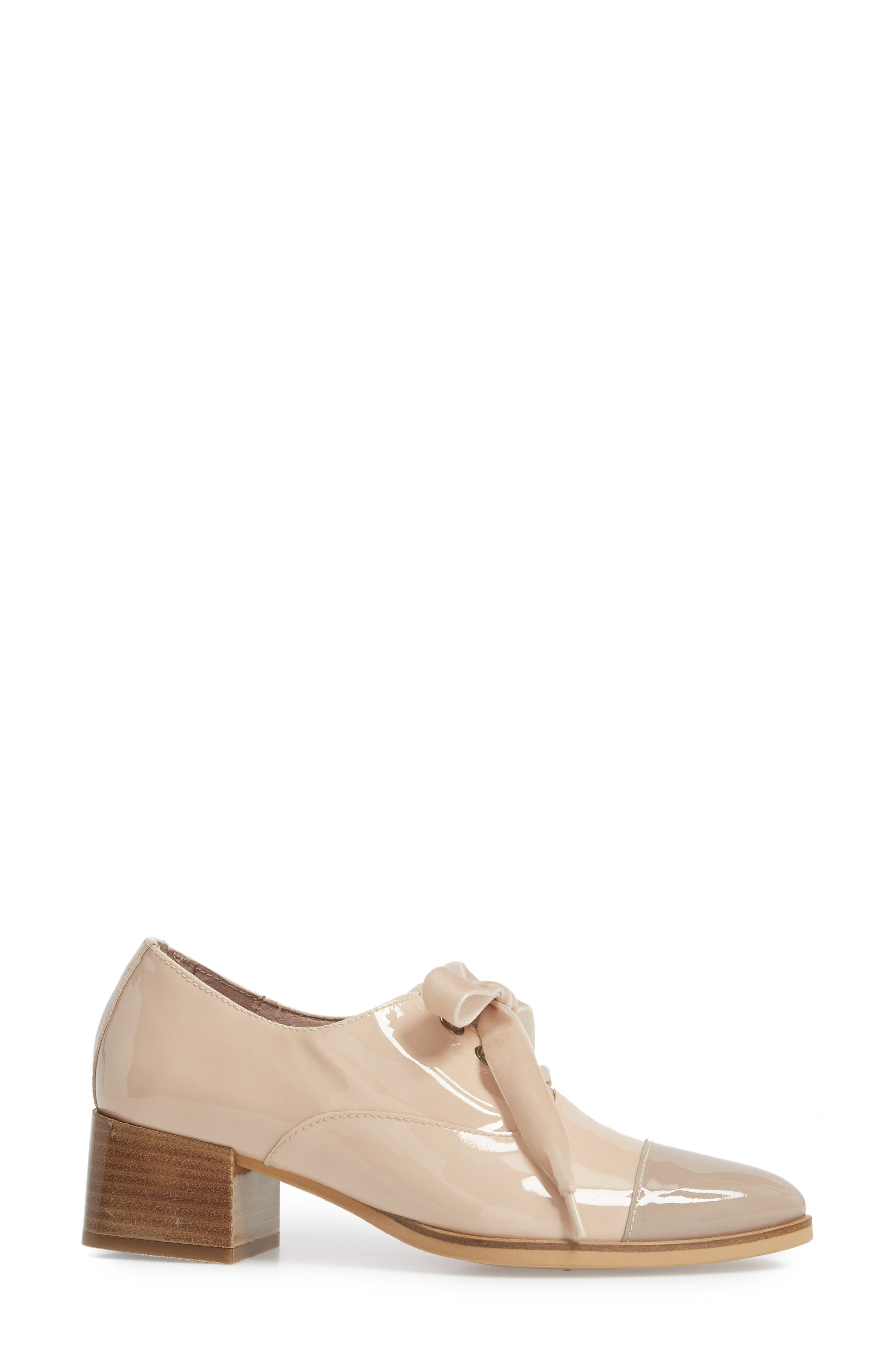 Lace-Up Oxford Pump,                             Alternate thumbnail 3, color,                             TAUPE/ PALO PATENT LEATHER