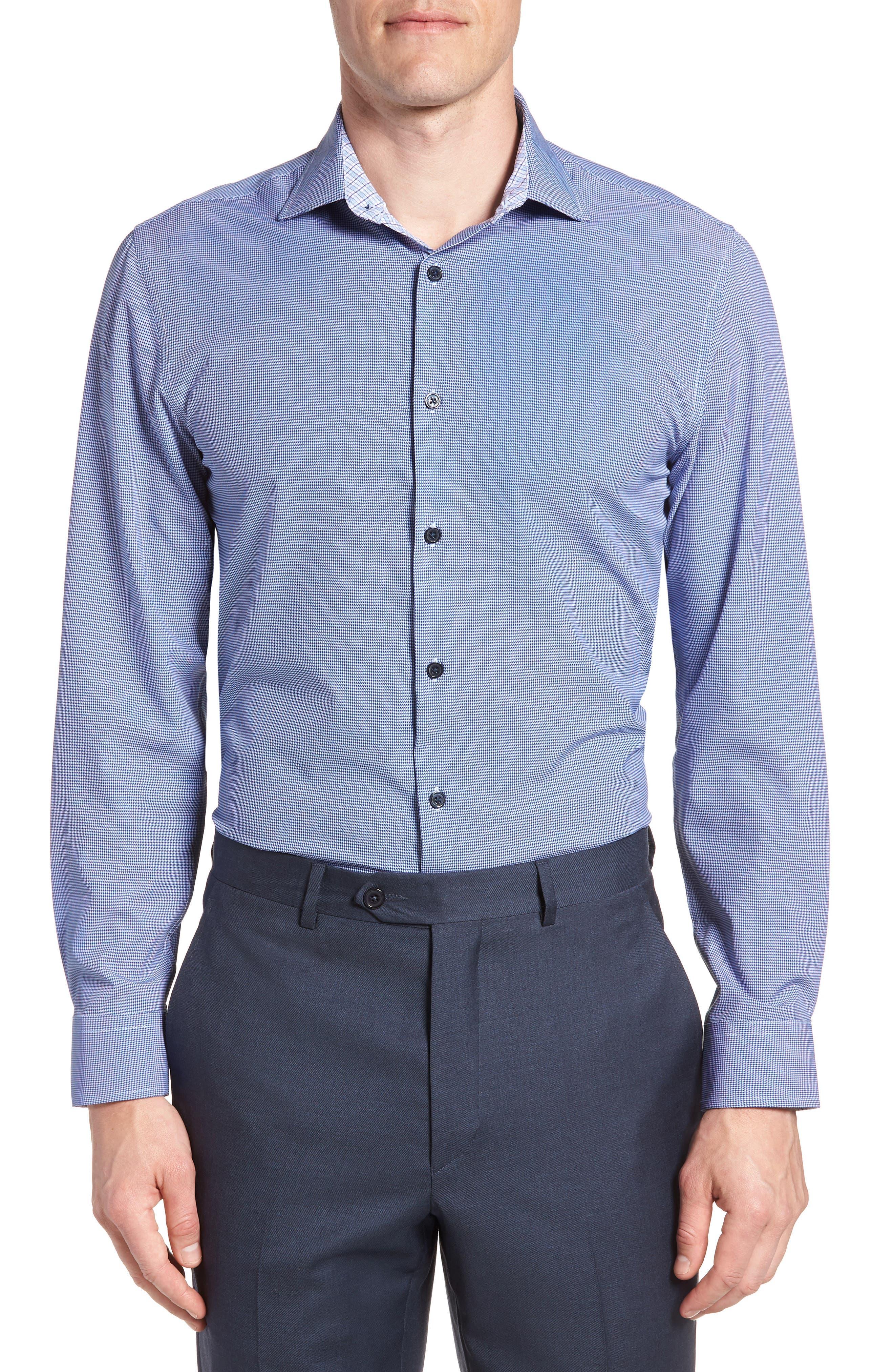 Trim Fit Houndstooth 4-Way Stretch Dress Shirt,                         Main,                         color, NAVY