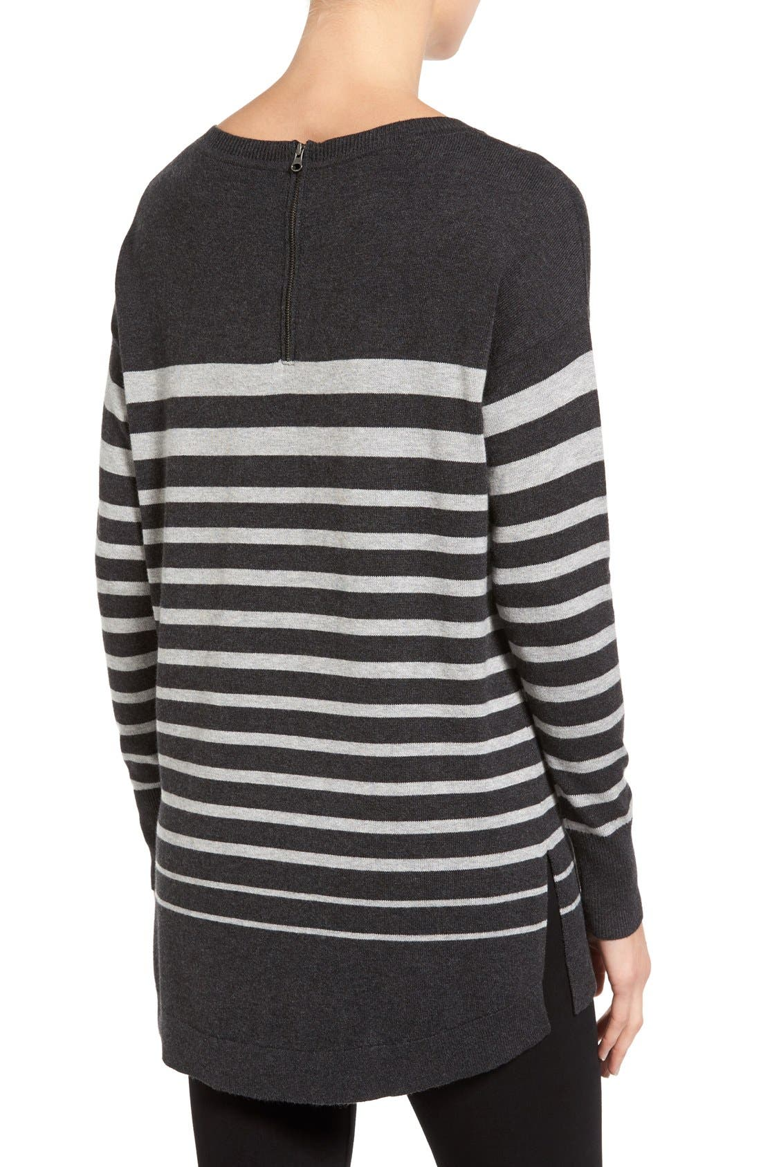 Zip Back High/Low Tunic Sweater,                             Alternate thumbnail 2, color,                             HEATHER CHARCOAL- GREY STRIPE